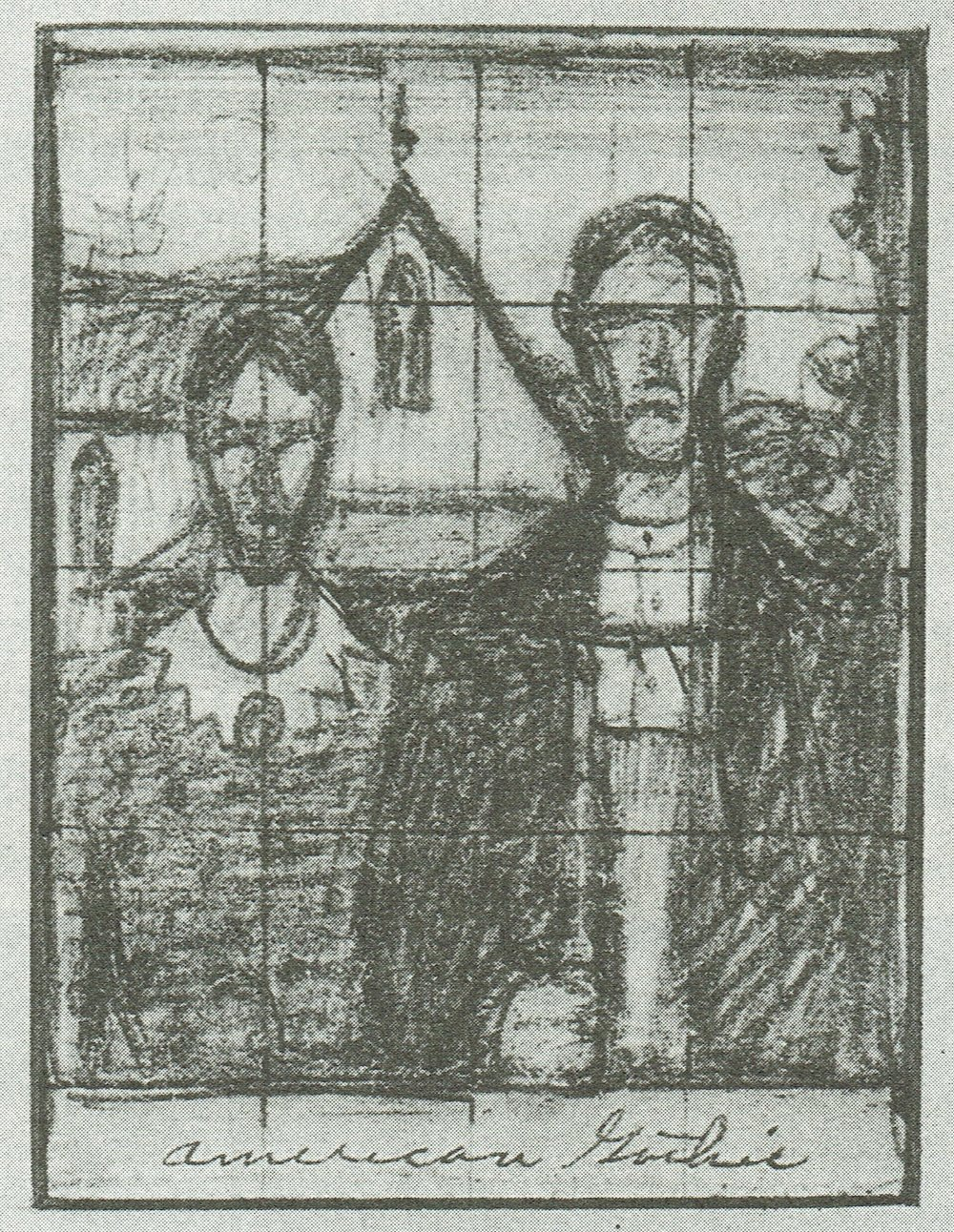 "Early pencil sketch of  American Gothic  by Grant Wood, featuring the farmer holding a rake instead of a pitchfork, and the caption of ""American Gothic"" at the bottom.  (© Estate of Grant Wood/Licensed by VAGA, New York, NY)"