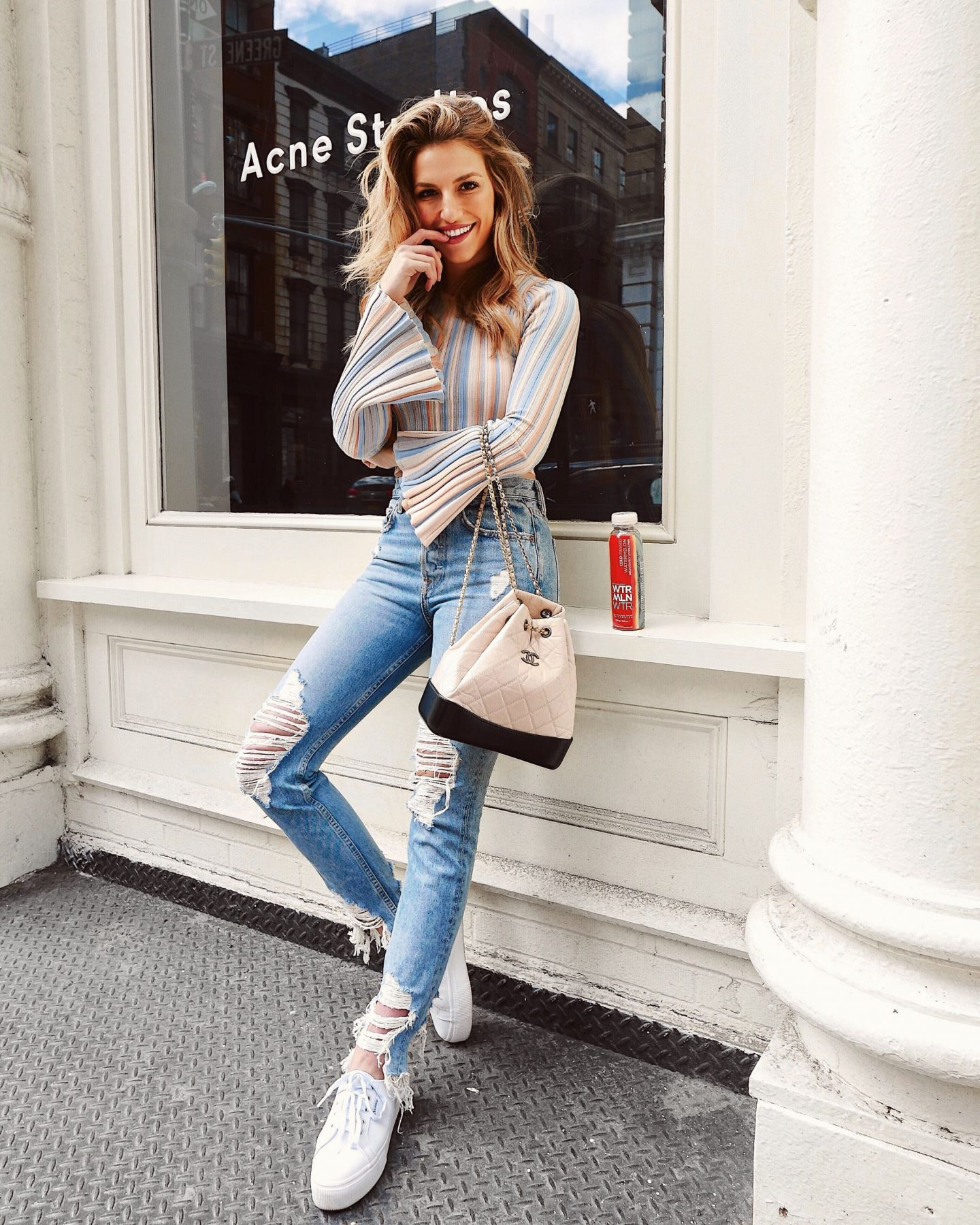 Cassandra DiMicco, Cass DiMicco, Dressed For Dreams, NYC, New York City, New York, Street Style NYC, Street Style 2018, NYC Street Style Street Style Outfits, 2018 Trends, NYC Fashion Blogger, Distressed Jeans, Flare Sleeve Top, Chanel Backpack, Platform Sneakers