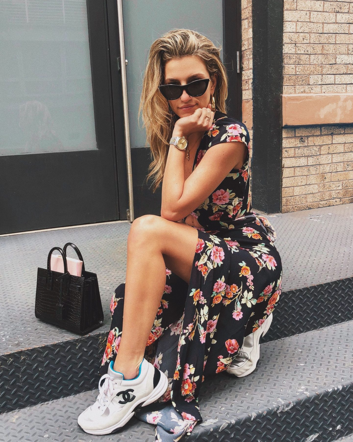 Cassandra DiMicco, Cass DiMicco, Dressed For Dreams, NYC, New York City, New York, Street Style NYC, Street Style 2018, NYC Street Style Street Style Outfits, 2018 Trends, NYC Fashion Blogger, Chanel sneakers, sac du jour, saint Laurent purse, floral maxi dress, le specs sunnies