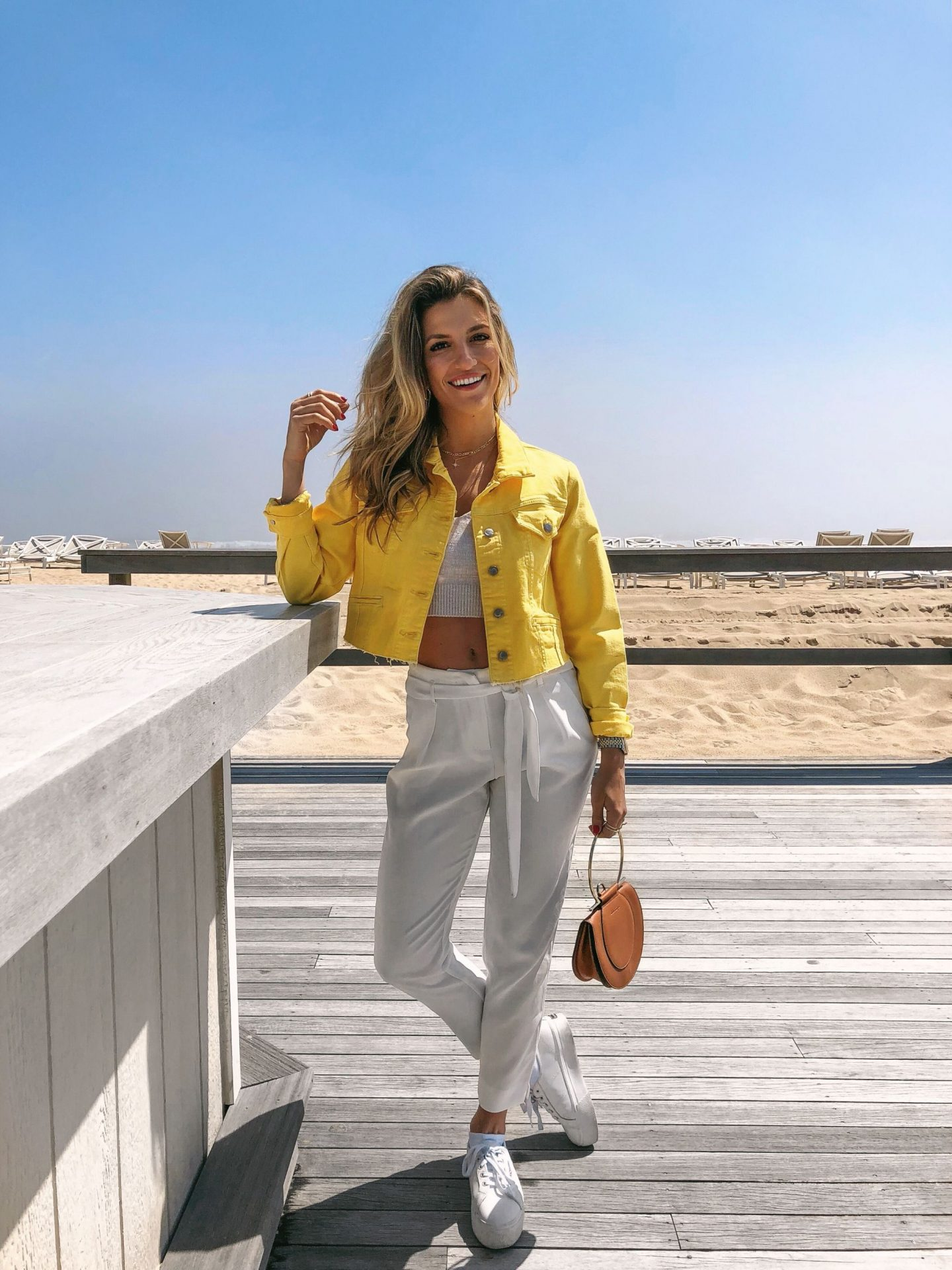 Cassandra DiMicco, Cass DiMicco, Dressed For Dreams, NYC, New York City, New York, Street Style NYC, Street Style 2018, NYC Street Style Street Style Outfits, 2018 Trends, NYC Fashion Blogger, The Hamptons, The Hamptons Style, Yellow Denim Jacket, Ferragamo Purse, Platform Sneakers, All White Outfit