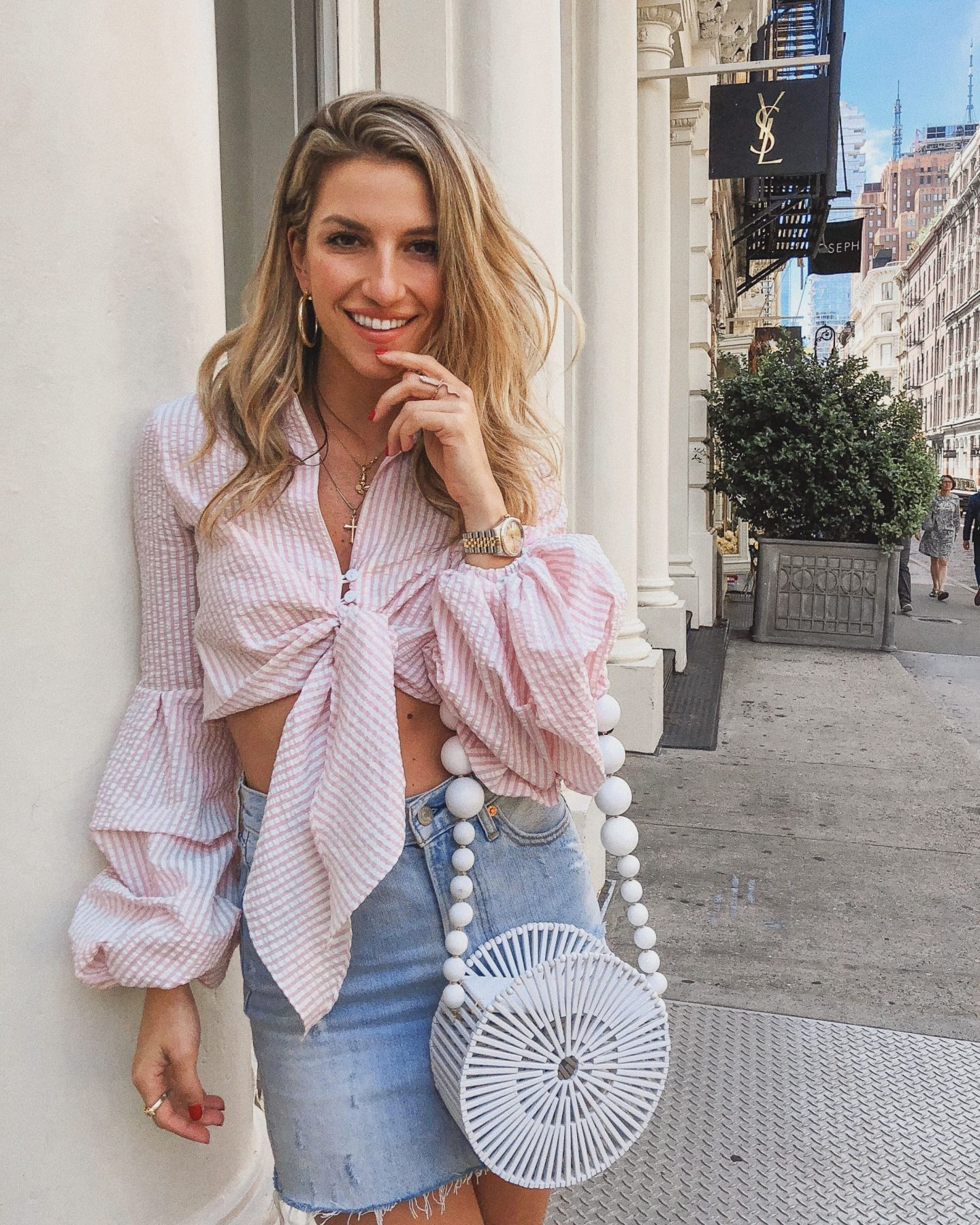 Cassandra DiMicco, Cass DiMicco, Dressed For Dreams, NYC, New York City, New York, Street Style NYC, Street Style 2018, NYC Street Style Street Style Outfits, 2018 Trends, NYC Fashion Blogger, Petersyn top, striped tie front top, ruffle sleeves top, cult Gaia bag, cult Gaia, denim skirt