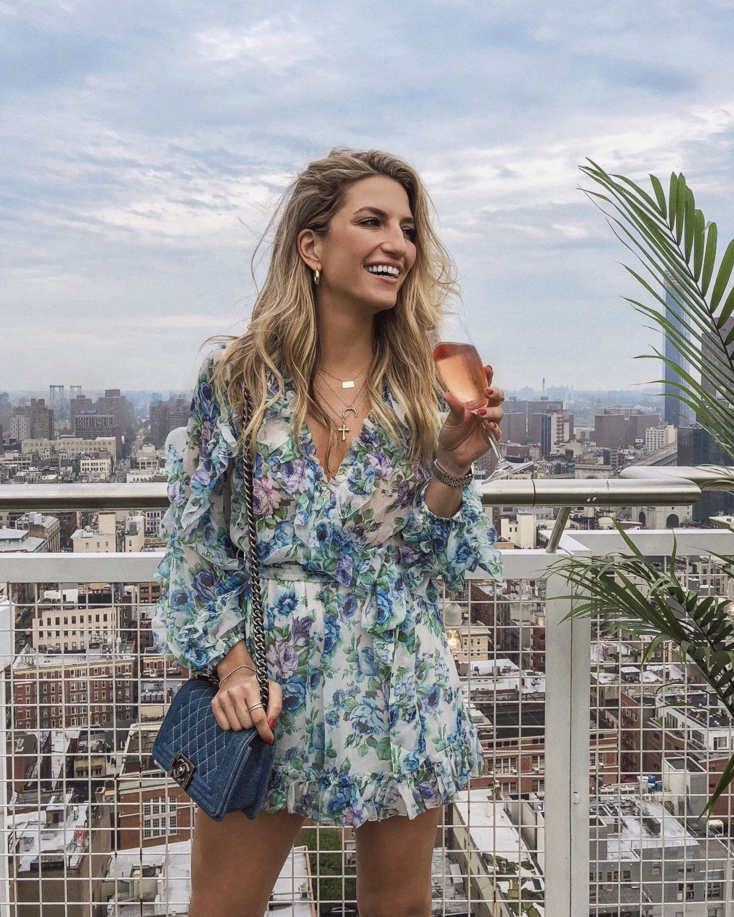 Cassandra DiMicco, Cass DiMicco, Dressed For Dreams, NYC, New York City, New York, Street Style NYC, Street Style 2018, NYC Street Style Street Style Outfits, 2018 Trends, NYC Fashion Blogger, Zimmermann, floral romper, denim boy bag, layered necklaces