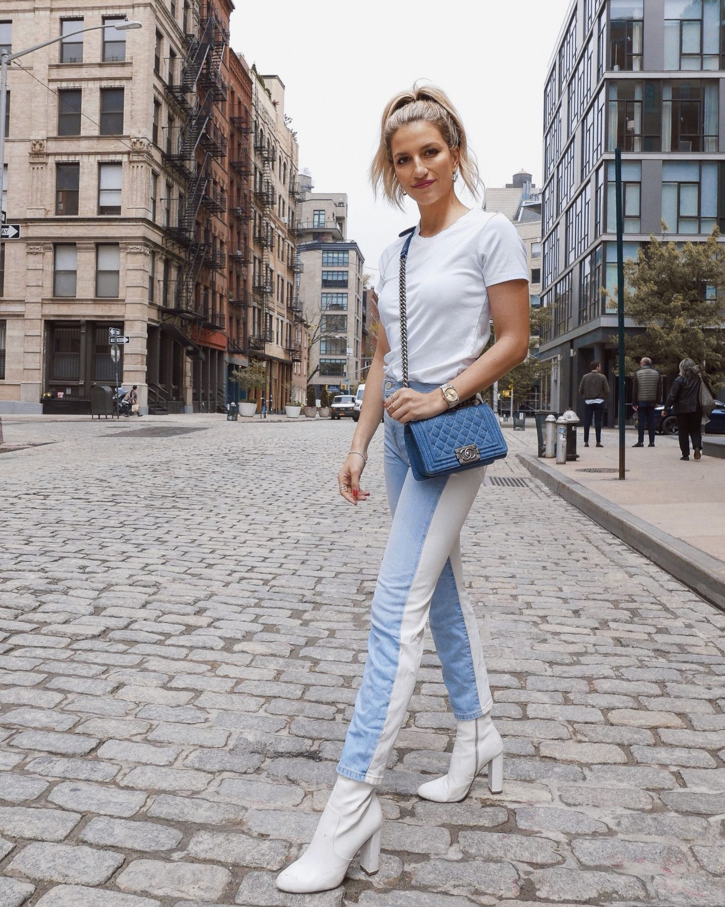 Cassandra DiMicco, Cass DiMicco, Dressed For Dreams, NYC, New York City, New York, Street Style NYC, Street Style 2018, NYC Street Style Street Style Outfits, 2018 Trends, NYC Fashion Blogger, joie jeans, color block jeans, white booties, denim boy bag, Tribeca