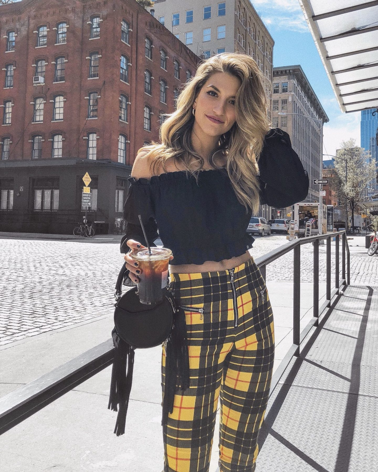 Cassandra DiMicco, Cass DiMicco, Dressed For Dreams, NYC, New York City, New York, Street Style NYC, Street Style 2018, NYC Street Style Street Style Outfits, 2018 Trends, NYC Fashion Blogger, Tiger mist outfit, Yellow Plaid pants, Salar purse, black off the shoulder top, Tribeca
