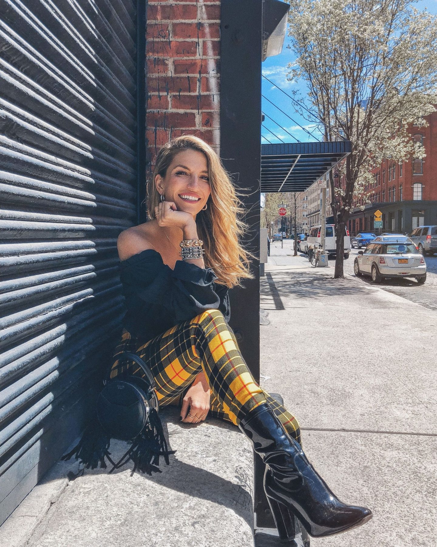 Cassandra DiMicco, Cass DiMicco, Dressed For Dreams, NYC, New York City, New York, Street Style NYC, Street Style 2018, NYC Street Style Street Style Outfits, 2018 Trends, NYC Fashion Blogger, Tiger mist outfit, yellow plaid pants, patent leather booties, salar bag, black off the shoulder top