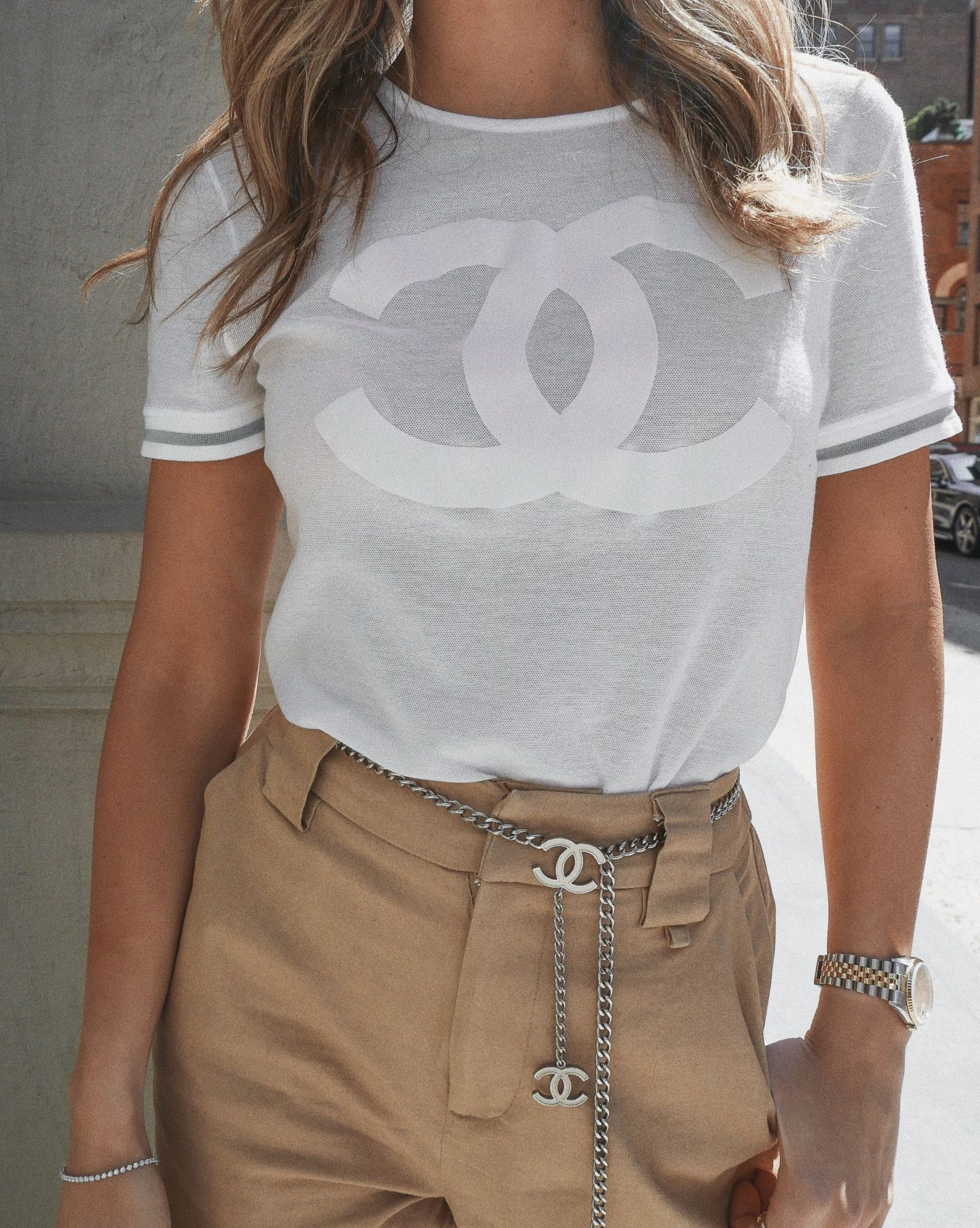 Cassandra DiMicco, Cass DiMicco, Dressed For Dreams, NYC, New York City, New York, Street Style NYC, Street Style 2018, NYC Street Style Street Style Outfits, 2018 Trends, NYC Fashion Blogger, i.am.gia pants, Chanel chain belt, chain belt, Chanel belt, vintage Chanel t-shirt, Chanel logo t-shirt, vintage Chanel