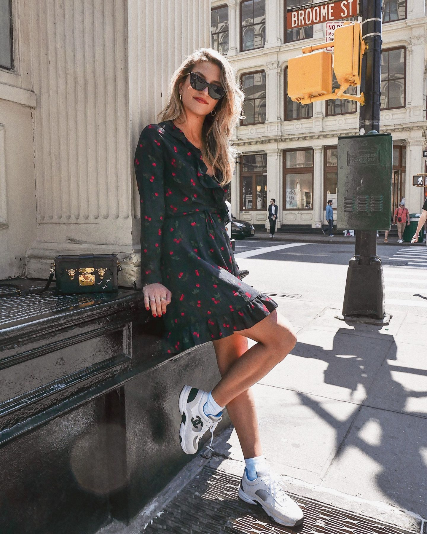 Cassandra DiMicco, Cass DiMicco, Dressed For Dreams, NYC, New York City, New York, Street Style NYC, Street Style 2018, NYC Street Style Street Style Outfits, 2018 Trends, NYC Fashion Blogger, Chanel sneakers, the kooples, the kooples cherry dress, le specs sunnies, dad sneakers trend