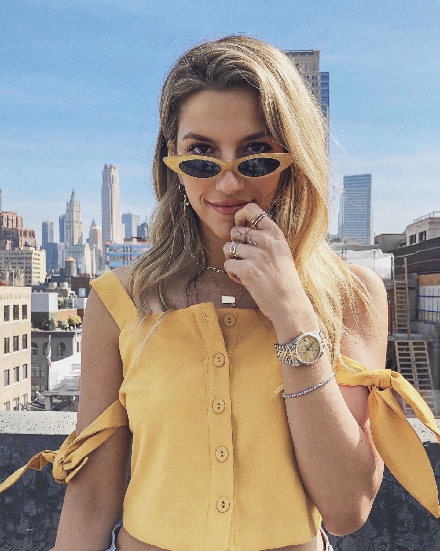 Cassandra DiMicco, Cass DiMicco, Dressed For Dreams, NYC, New York City, New York, Street Style NYC, Street Style 2018, NYC Street Style Street Style Outfits, 2018 Trends, NYC Fashion Blogger, moon river, yellow sunnies, yellow top, Shashi jewelry, layered necklaces