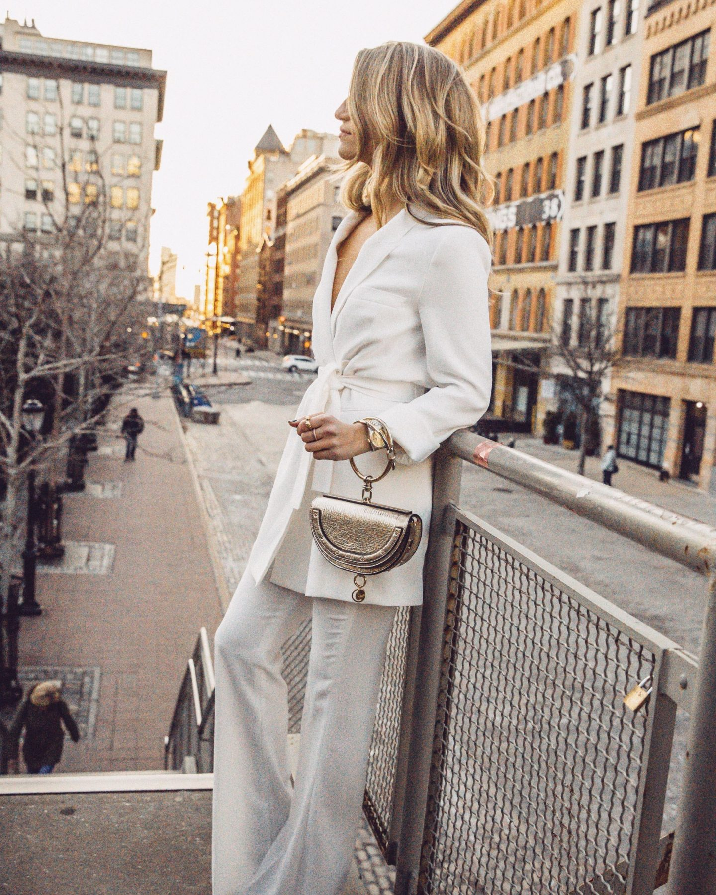 Cassandra DiMicco, Cass DiMicco, Dressed For Dreams, NYC, New York City, New York, Street Style NYC, Street Style 2018, NYC Street Style Street Style Outfits, 2018 Trends, NYC Fashion Blogger, metallic Chloe bag, Chloe bag, Chloe bracelet bag, chic all white outfit, business chic outfit