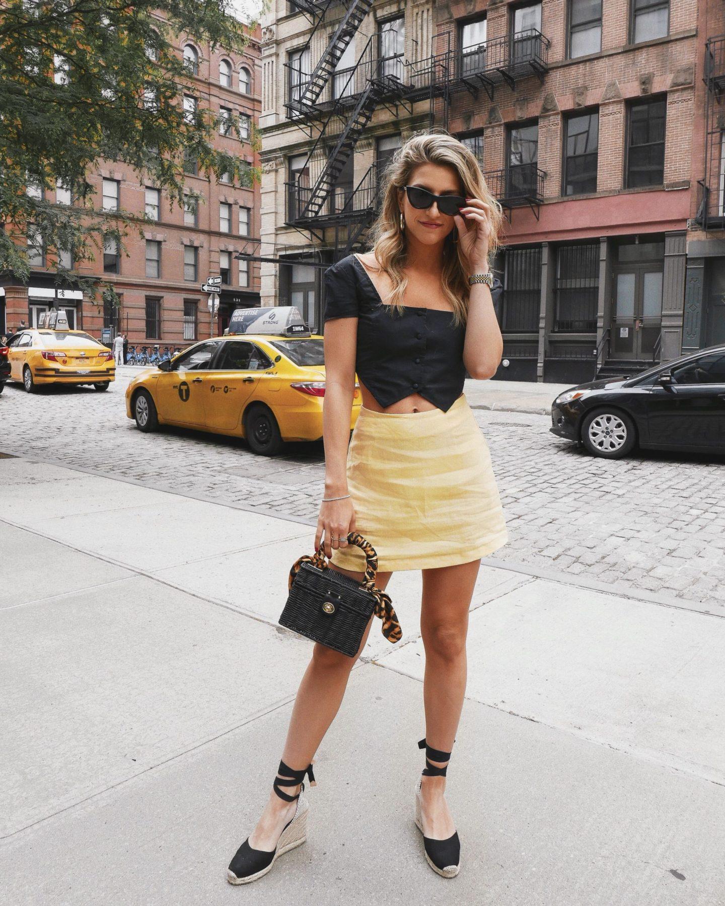 Cassandra DiMicco, Cass DiMicco, Dressed For Dreams, NYC, New York City, New York, Street Style NYC, Street Style 2018, NYC Street Style Street Style Outfits, 2018 Trends, NYC Fashion Blogger, reformation, dolls kill, yellow skirt, espadrille wedges, castaner, Zara, woven bag, straw bag, ysl scarf, scarf on bag trend, le specs, tribeca