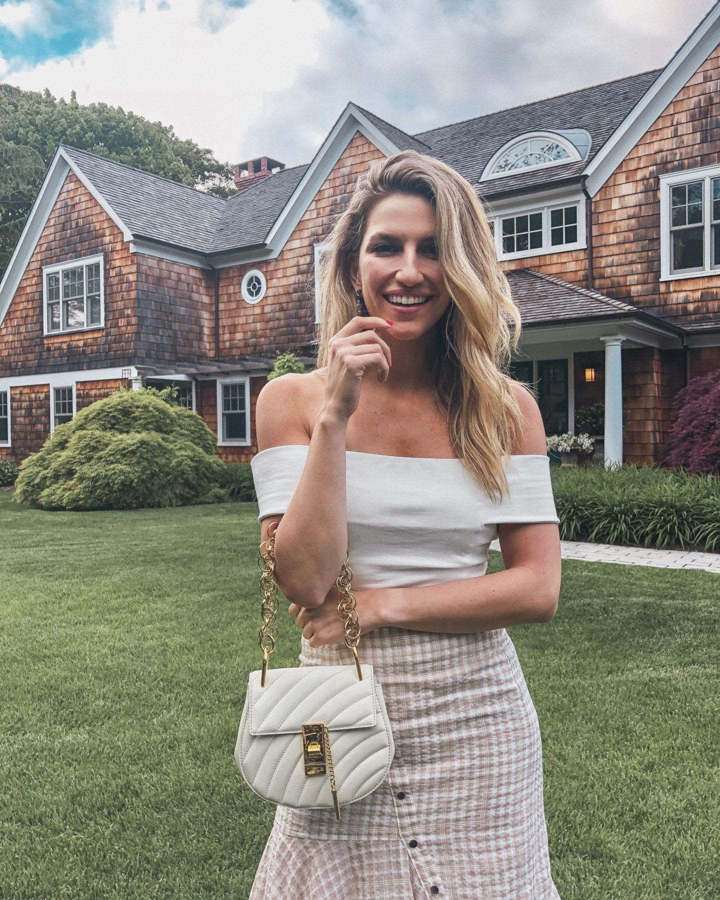 Cassandra DiMicco, Cass DiMicco, Dressed For Dreams, NYC, New York City, New York, Street Style NYC, Street Style 2018, NYC Street Style Street Style Outfits, 2018 Trends, NYC Fashion Blogger, NYC to do list, NYC to do, NYC bucket list, NYC Instagram Spots, Hamptons, Montauk, Chloe Bag, Chloe Mini Bijou bag, White off the shoulder top, pink plaid skirt, Hamptons style