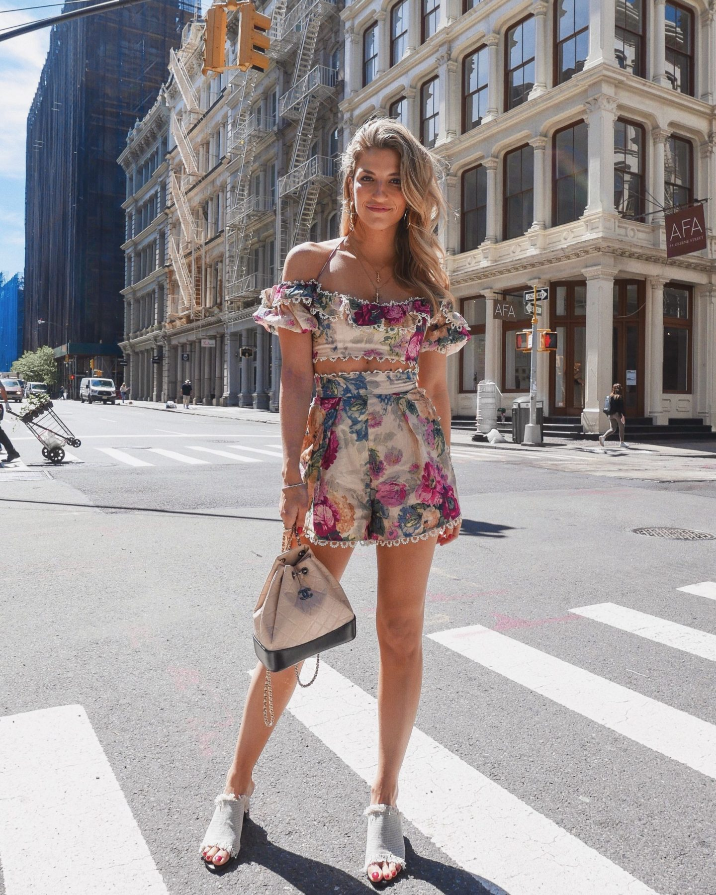 Cassandra DiMicco, Cass DiMicco, Dressed For Dreams, NYC, New York City, New York, Street Style NYC, Street Style 2018, NYC Street Style Street Style Outfits, 2018 Trends, NYC Fashion Blogger, Zimmermann two piece set, Zimmermann, Chanel backpack, woven mules, Tony Bianco mules, Tony Bianco, soho