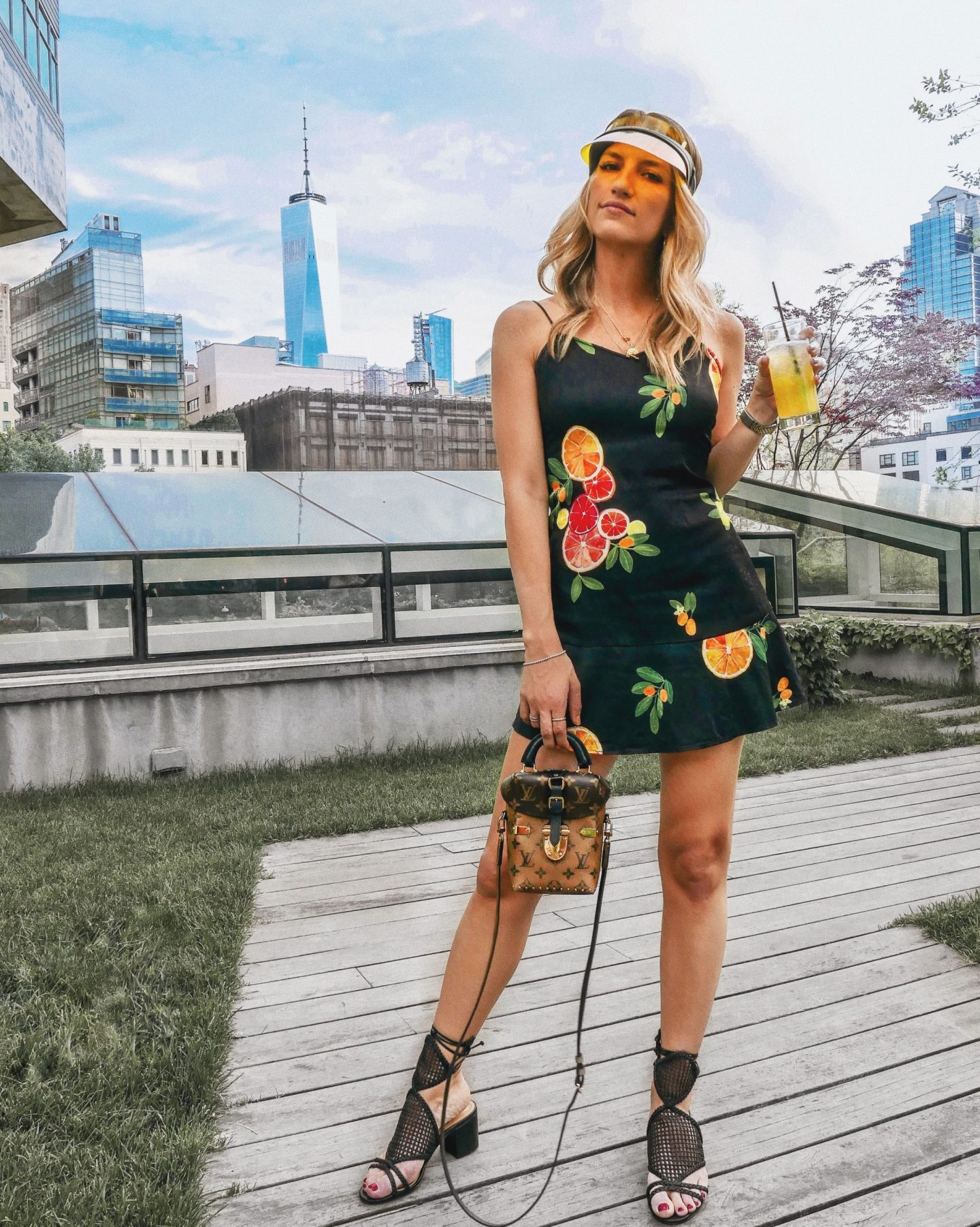 Cassandra DiMicco, Cass DiMicco, Dressed For Dreams, NYC, New York City, New York, Street Style NYC, Street Style 2018, NYC Street Style Street Style Outfits, 2018 Trends, NYC Fashion Blogger, NYC to do list, NYC to do, NYC bucket list, NYC Instagram Spots, TriBeCa, The James Hotel, The James NYC, Jimmy at the James, Schutz Palinda Sandals, Schutz Sandals, LPA Dress, Fruit Dress, Dior Visor, Louis Vuitton Reverse Monogram Camera Box Bag, Louis Vuitton Camera Box Bag, Louis Vuitton, NYC Views
