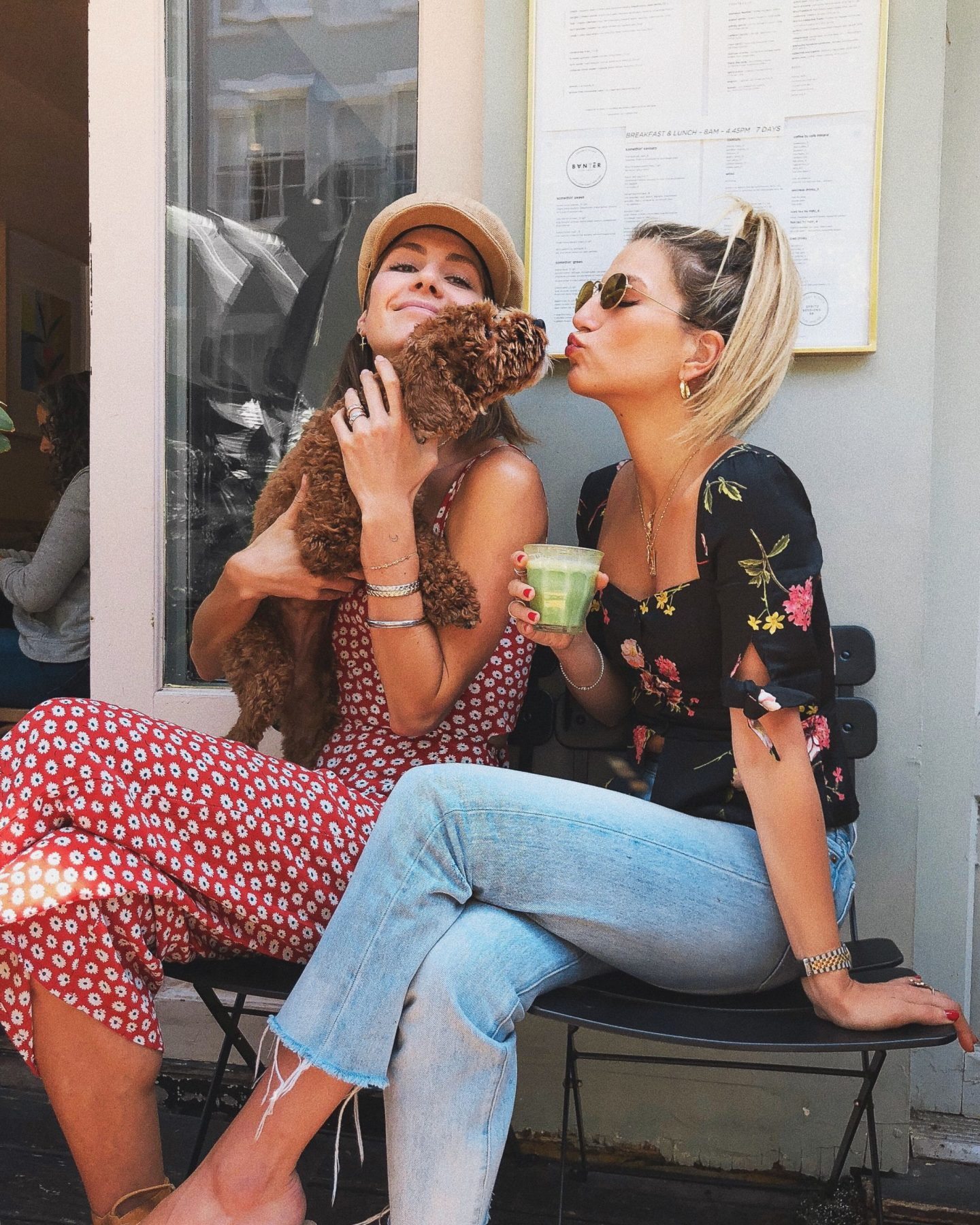 Cassandra DiMicco, Cass DiMicco, Dressed For Dreams, NYC, New York City, New York, Street Style NYC, Street Style 2018, NYC Street Style Street Style Outfits, 2018 Trends, NYC Fashion Blogger, NYC to do list, NYC to do, NYC bucket list, NYC Instagram Spots, puppy, Levis jeans, Levis high rise, Levis light wash high rise, Levis light wash, capulet, black floral crop top, capulet black crop top, capulet Lila blouse, capulet floral crop top, ray ban sunnies, ray ban round sunnies