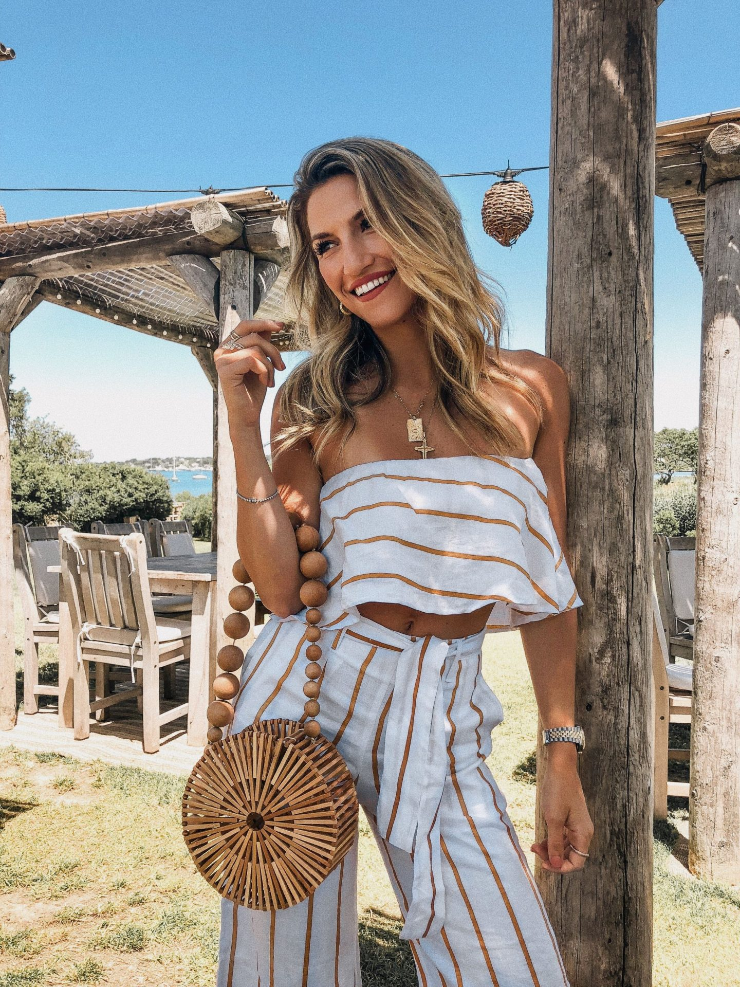 Cassandra DiMicco, Cass DiMicco, Dressed For Dreams, NYC, New York City, New York, Street Style NYC, Street Style 2018, NYC Street Style Street Style Outfits, 2018 Trends, NYC Fashion Blogger, NYC to do list, NYC to do, NYC bucket list, NYC Instagram Spots, Crows Nest Montauk, The Hamptons, Cult Gaia, Cult Gaia Circle Bamboo Bag, Faithfull The Brand, Lulus, Two Piece Set, Striped Culottes, Striped Tube Top, Summer Style, Summer Outfit Inspo, 2018 Trends, Hamptons Style, Hamptons Outfit