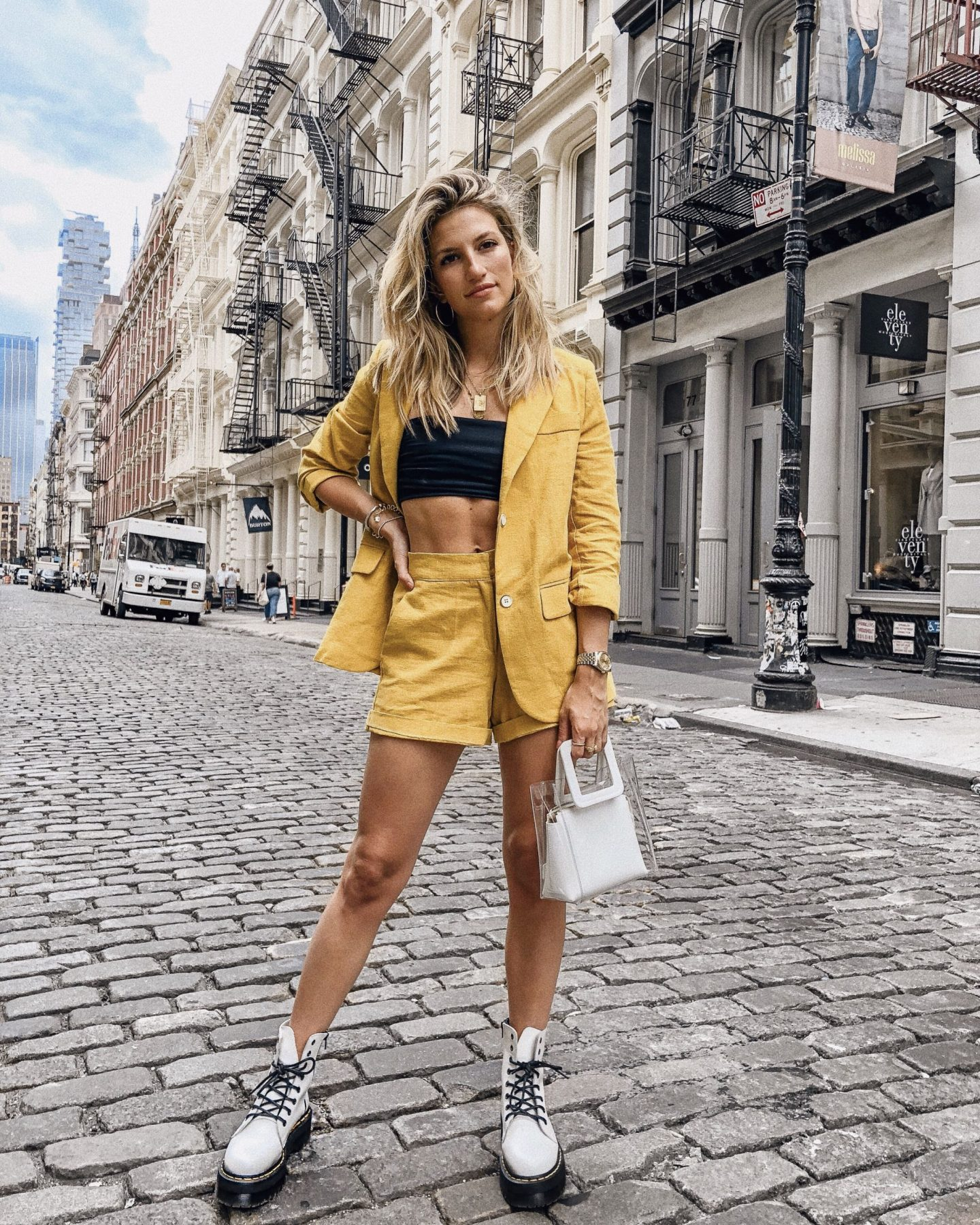 Cassandra DiMicco, Cass DiMicco, Dressed For Dreams, NYC, New York City, New York, Street Style NYC, Street Style 2018, NYC Street Style Street Style Outfits, 2018 Trends, NYC Fashion Blogger, NYC to do list, NYC to do, NYC bucket list, NYC Instagram Spots, Summer Style, Summer Outfit Inspo, 2018 Trends, SoHo, Dr Martens, Doc Martens, Doc Marten Jandon, Platform Doc Martens, Yellow Suit Set, Matching Set, Transparent Purse, Street Style