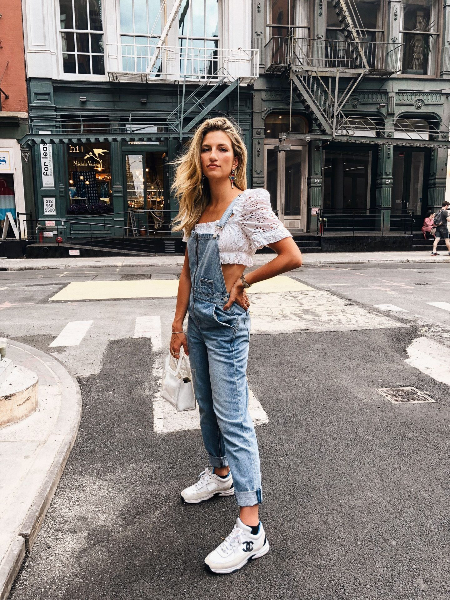 Cassandra DiMicco, Cass DiMicco, Dressed For Dreams, NYC, New York City, New York, Street Style NYC, Street Style 2018, NYC Street Style Street Style Outfits, 2018 Trends, NYC Fashion Blogger, NYC to do list, NYC to do, NYC bucket list, NYC Instagram Spots, SoHo, Lovers + Friends, Overalls, Staud Purse, Revolve Clothing, Revolve Around The World, Chanel Sneakers, LPA crop top, Summer style, 2018 trends, summer outfit Inso