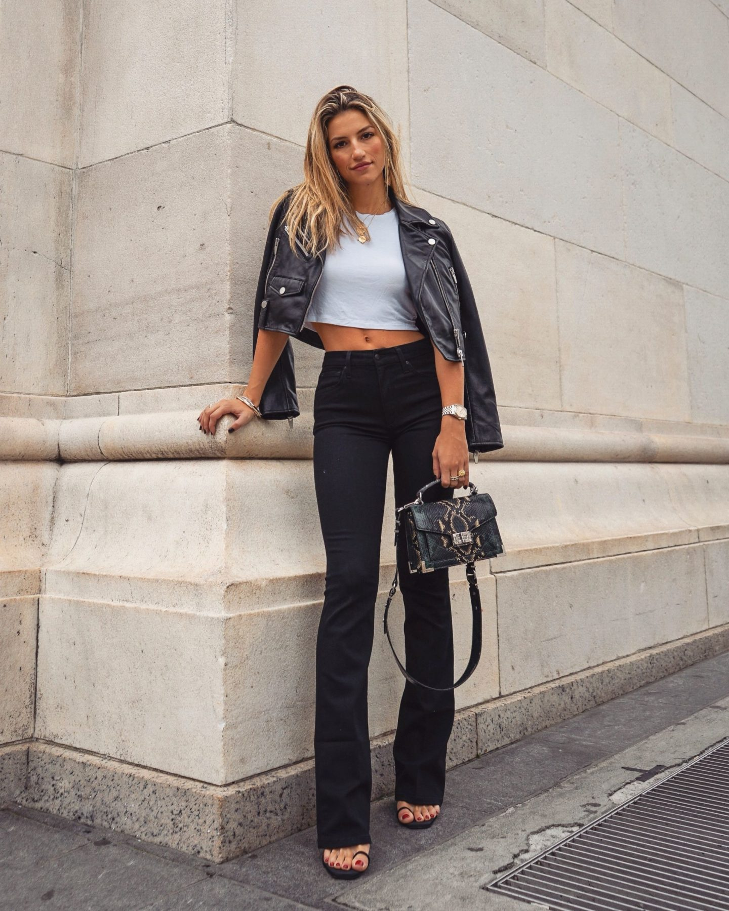 Cassandra DiMicco, Cass DiMicco, Dressed For Dreams, NYC, New York City, New York, Street Style NYC, Street Style 2018, NYC Street Style, NYC Outfit Inspo Street Style Outfits, 2018 Trends, Summer Style, Summer Outfit Inspo, NYC Fashion Blogger, NYC Fashion Blogger, NYC to do list, NYC to do, NYC bucket list, NYC Instagram Spots, joes jeans, Tony Bianco, maje, the kooples, Manhattan, Tony Bianco Sierra sandals, joes jeans the Charlie, plain white tee, maje bummer cropped motorcycle jacket, cropped motorcycle jacket, maje leather jacket, cropped leather jacket, the kooples, the kooples Emily bag, the kooples Emily snakeskin bag