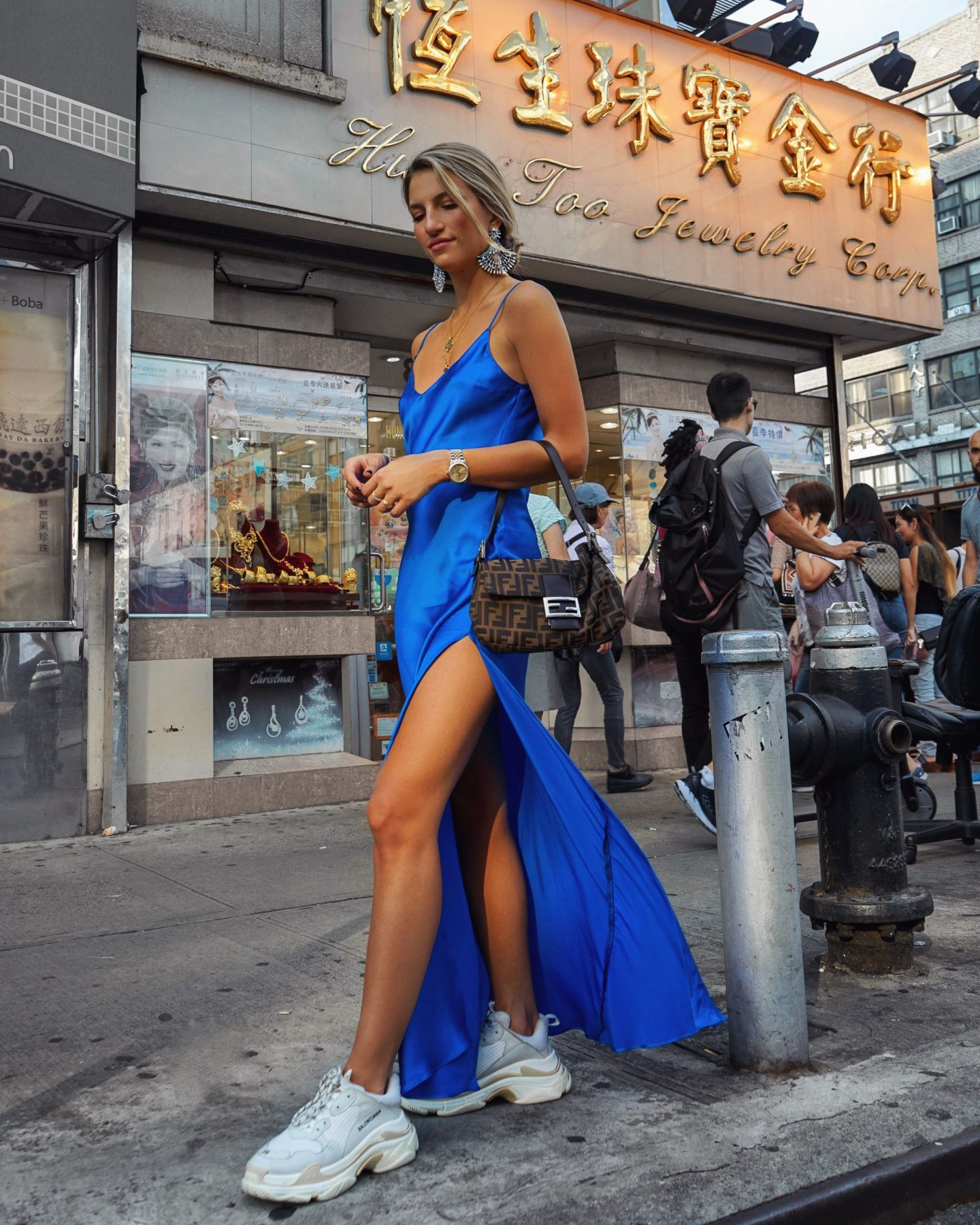 Cassandra DiMicco, Cass DiMicco, Dressed For Dreams, NYC, New York City, New York, Street Style NYC, Street Style 2018, NYC Street Style, NYC Outfit Inspo Street Style Outfits, 2018 Trends, Summer Style, Summer Outfit Inspo, NYC Fashion Blogger, NYC Fashion Blogger, NYC to do list, NYC to do, NYC bucket list, NYC Instagram Spots, dannijo, dannijo earrings, dannijo jewelry, dannijo dress, balenciaga triple s sneakers, balenciaga sneakers, balenciaga chunky sneakers, slip dress, fendi, vintage fendi, fendi zucca print, chinatown manhattan