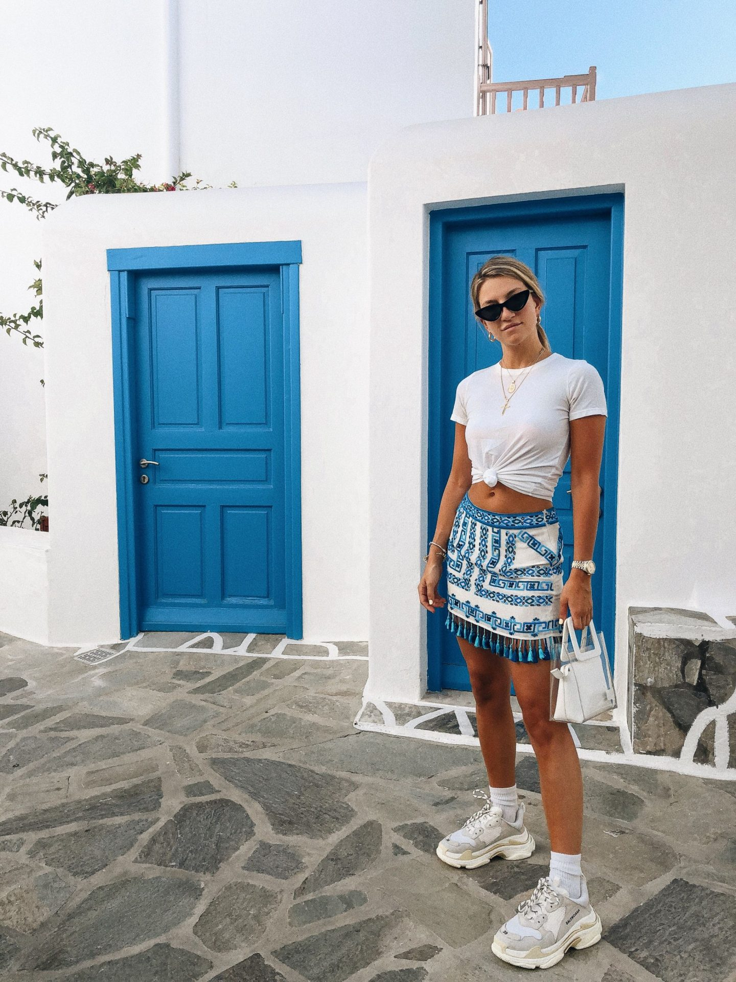 Cassandra DiMicco, Cass DiMicco, Dressed For Dreams, NYC, New York City, New York, Street Style NYC, Street Style 2018, NYC Street Style Street Style Outfits, 2018 Trends, Summer Style, Summer Outfit Inspo, Europe Outfit Inspo, NYC Fashion Blogger, Mykonos, Staud PVC Tote, Staud Shirley Leather PVC Tote, Rococo Sand Skirt, Le Specs, Le Specs The Last Lolita, Balenciaga Sneakers, Balenciaga Triple S Sneakers