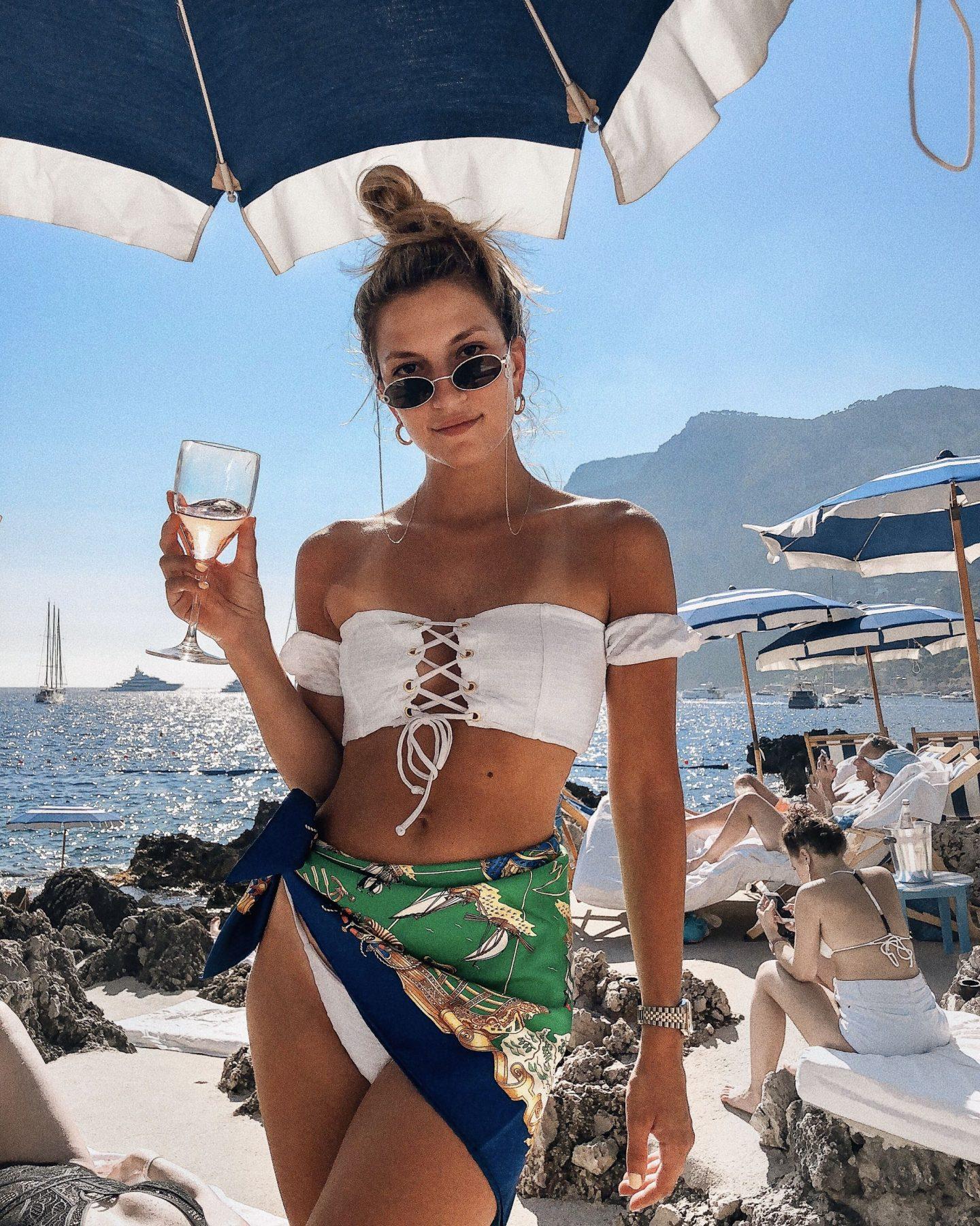 Cassandra DiMicco, Cass DiMicco, Dressed For Dreams, NYC, New York City, New York, Street Style NYC, Street Style 2018, NYC Street Style Street Style Outfits, 2018 Trends, Summer Style, Summer Outfit Inspo, Europe Outfit Inspo, NYC Fashion Blogger, Capri, Capri Italy, Capri Inspo, Beach Bunny Swimwear, Le Specs Love Train, Le Specs, Corset Bikini, Lace Up Bikini, Vintage Hermes Scarf, Hermes Scarf, Vacation Outfit Inspo, Beach Outfit Inspo