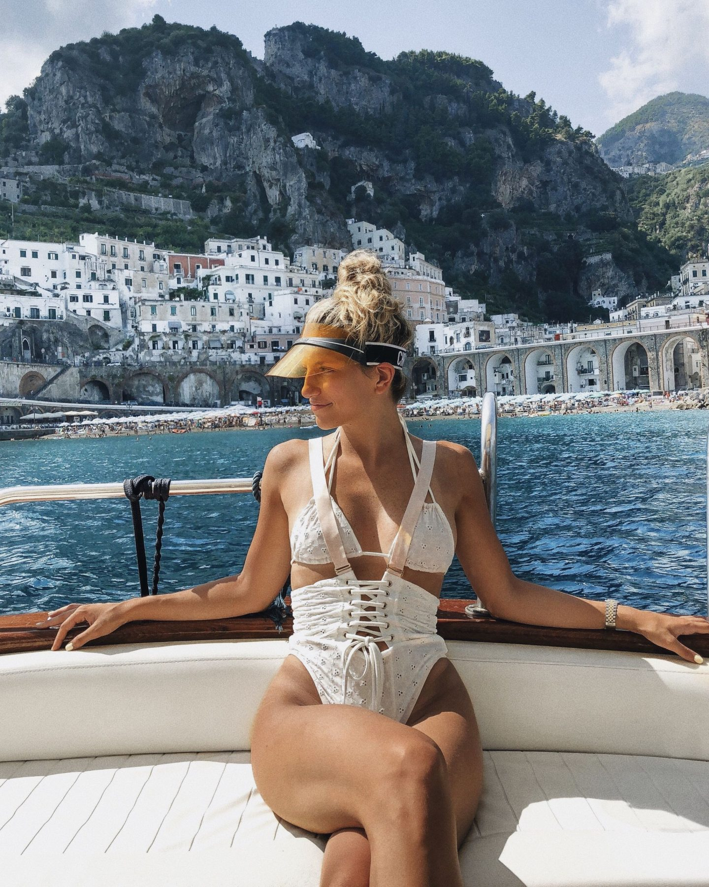 Cassandra DiMicco, Cass DiMicco, Dressed For Dreams, NYC, New York City, New York, Street Style NYC, Street Style 2018, NYC Street Style Street Style Outfits, 2018 Trends, Summer Style, Summer Outfit Inspo, Europe Outfit Inspo, NYC Fashion Blogger, Positano, Amalfi Coast, Positano Italy, Dior Visor, Lace Up Monokini, Yacht Outfit, Boat Outfit, Positano Outfit Inspo