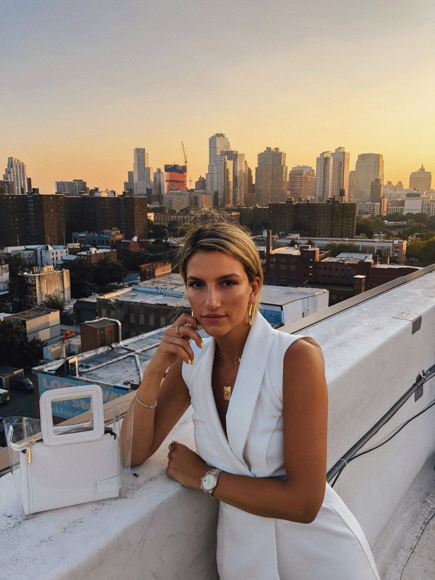Cassandra DiMicco, Cass DiMicco, Dressed For Dreams, NYC, New York City, New York, Street Style NYC, Street Style 2018, NYC Street Style, NYC Outfit Inspo Street Style Outfits, 2018 Trends, Summer Style, Summer Outfit Inspo, NYC Fashion Blogger, NYC Fashion Blogger, NYC to do list, NYC to do, NYC bucket list, NYC Instagram Spots, River Island, Tux Romper, River Island Mini Tux Wrap Romper, Staud PVC Tote, Staud Shirley Tote, Staud Bag