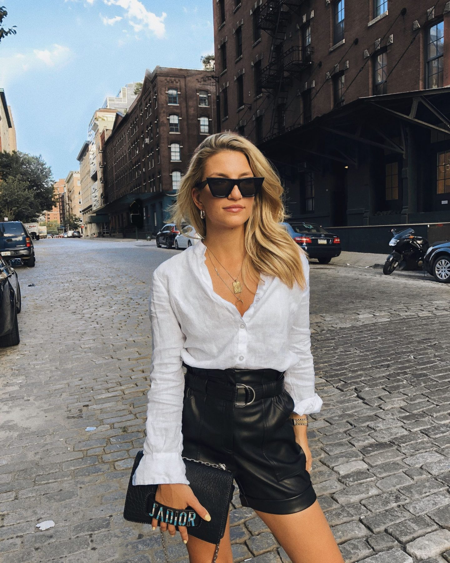Cassandra DiMicco, Cass DiMicco, Dressed For Dreams, NYC, New York City, New York, Street Style NYC, Street Style 2018, NYC Street Style, NYC Outfit Inspo Street Style Outfits, 2018 Trends, Summer Style, Summer Outfit Inspo, NYC Fashion Blogger, NYC Fashion Blogger, NYC to do list, NYC to do, NYC bucket list, NYC Instagram Spots, TriBeCa, River Island, River Island Leather Shorts, J'Adior, Christian Dior J'Adior Bag, Dior J'Adior Bag, Boyfriend Shirt, Layered Necklaces, Celine Edge Sunnies, Celine
