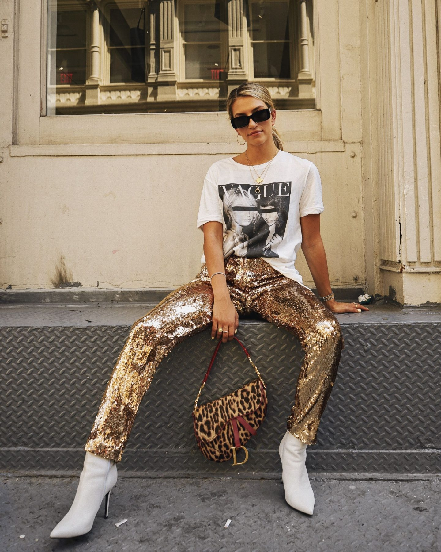 Cassandra DiMicco, Cass DiMicco, Dressed For Dreams, NYC, New York City, New York, Street Style NYC, Street Style 2018, NYC Street Style, NYC Outfit Inspo Street Style Outfits, 2018 Trends, Summer Style, Summer Outfit Inspo, NYC Fashion Blogger, NYC Fashion Blogger, NYC to do list, NYC to do, NYC bucket list, NYC Instagram Spots, Milly Sequin Pants, Ksubi Vague Graphic Tee, Milly, Sequin Pants, Ksubi Tee, Christian Dior Saddle Bag, Dior Saddle Bag, Vintage Dior, Leopard Saddle bag, Off white sunnies, Off white, Tony Bianco Freddy booties, Tony Bianco, white booties
