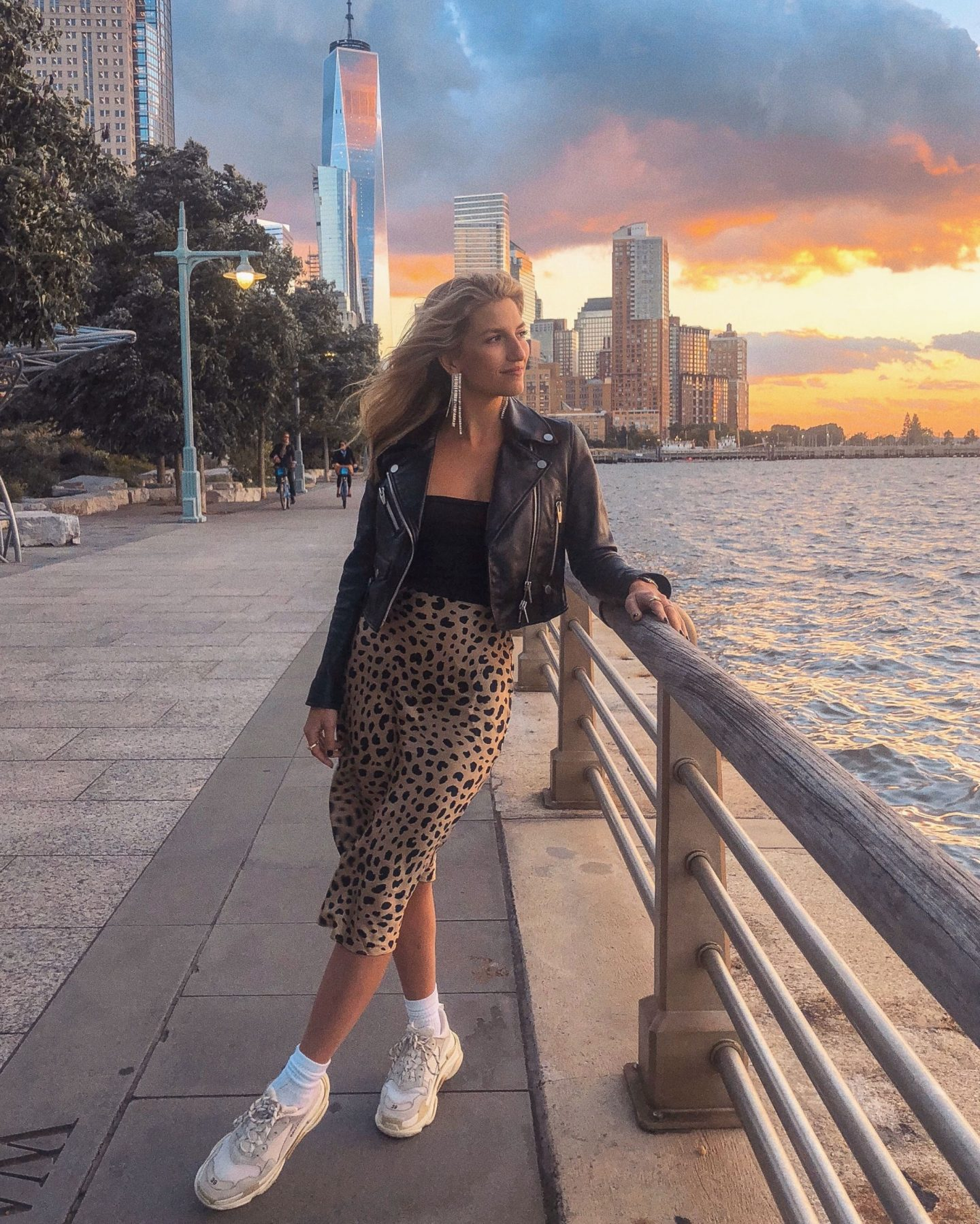 Cassandra DiMicco, Cass DiMicco, Dressed For Dreams, NYC, New York City, New York, Street Style NYC, Street Style 2018, NYC Street Style, NYC Outfit Inspo Street Style Outfits, 2018 Trends, Summer Style, Summer Outfit Inspo, NYC Fashion Blogger, NYC Fashion Blogger, NYC to do list, NYC to do, NYC bucket list, NYC Instagram Spots, realisation par the Naomi, realisation par leopard silk midi skirt, realisation par leopard skirt, the arrivals NYC, the arrivals NYC clo mini leather jacket, the arrivals NYC leather jacket, clo mini leather jacket, Louis Vuitton lockme backpack, Louis Vuitton backpack, tribeca, soho, fall fashion, fall outfit inspo, fall outfit, balenciaga triple s sneakers