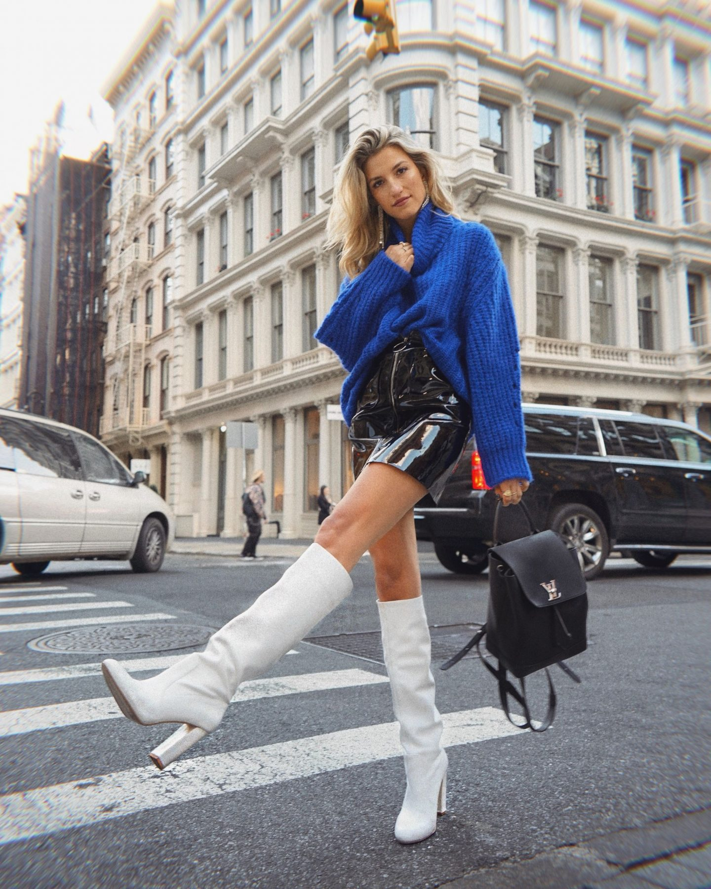 Cassandra DiMicco, Cass DiMicco, Dressed For Dreams, NYC, New York City, New York, Street Style NYC, Street Style 2018, NYC Street Style, NYC Outfit Inspo Street Style Outfits, 2018 Trends, Summer Style, Summer Outfit Inspo, NYC Fashion Blogger, NYC Fashion Blogger, NYC to do list, NYC to do, NYC bucket list, NYC Instagram Spots, ba&sh Paris, bash Paris, ba&sh turtleneck sweater, ba&sh emera sweater, storets Magda patent leather skirt, patent leather skirt, fall fashion, fall outfit ideas, fall outfit inspo, tall white leather boots, knee high white boots, white leather boots, Louis Vuitton backpack, lockme backpack, Louis Vuitton lockme backpack, soho, Steve Madden, Steve Madden Eton boot
