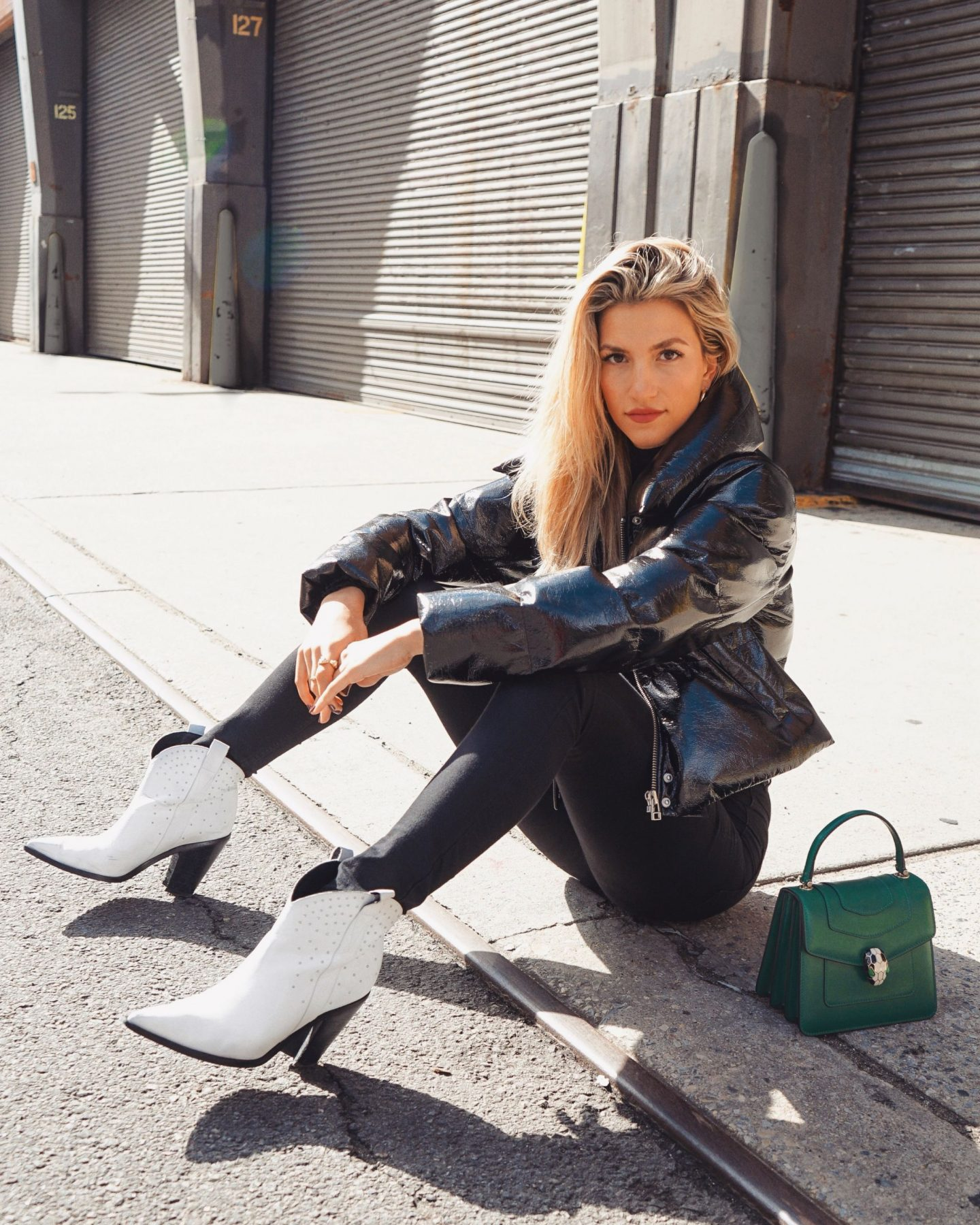 Cassandra DiMicco, Cass DiMicco, Dressed For Dreams, NYC, New York City, New York, Street Style NYC, Street Style 2018, NYC Street Style, NYC Outfit Inspo Street Style Outfits, 2018 Trends, Summer Style, Summer Outfit Inspo, NYC Fashion Blogger, NYC Fashion Blogger, NYC to do list, NYC to do, NYC bucket list, NYC Instagram Spots, 2018 trends, LPA puffer jacket, LPA, revolve around the world, revolve around the world NYC, NYC influencer, sigerson Morrison Kalie boots, sigerson Morrison boots, sigerson Morrison, white studded cowboy boots, Bulgari serpent tote