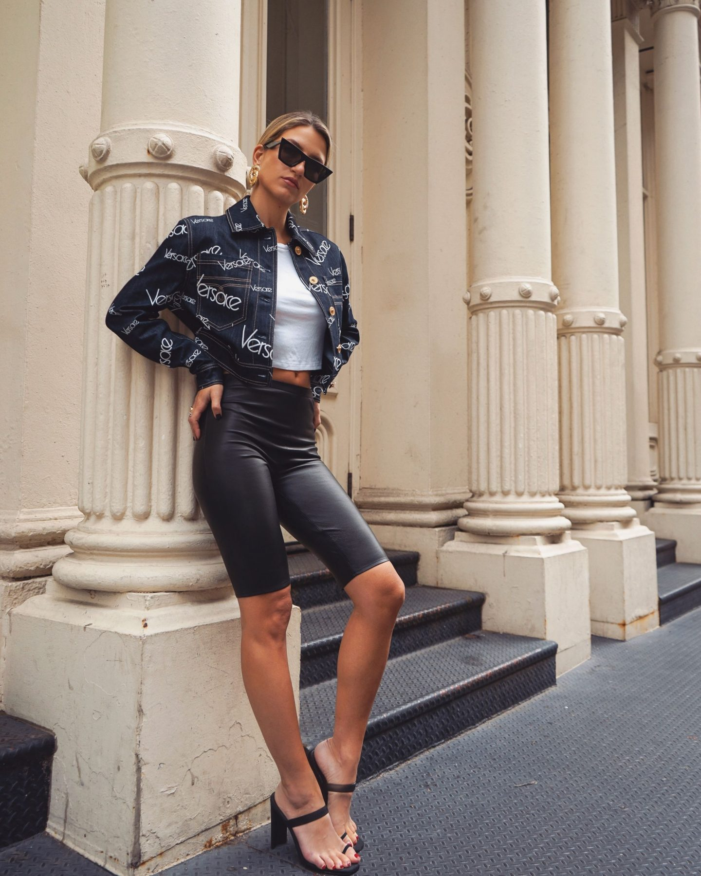 Cassandra DiMicco, Cass DiMicco, Dressed For Dreams, NYC, New York City, New York, Street Style NYC, Street Style 2018, NYC Street Style, NYC Outfit Inspo Street Style Outfits, 2018 Trends, Summer Style, Summer Outfit Inspo, NYC Fashion Blogger, NYC Fashion Blogger, NYC to do list, NYC to do, NYC bucket list, NYC Instagram Spots, Versace, Versace logo mania, Versace logo mania denim crop jacket, Versace logo mania denim jacket, Versace denim jacket, Celine edge sunnies, leather biker shots, Tony Bianco Sierra sandals
