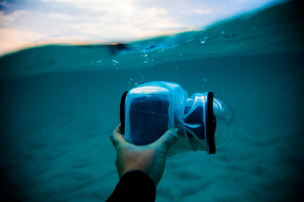 Clear Outex Waterproof cover and Glass Dome Port with a Canon 5DMK4 + 8-16mm Fisheye lens inside.