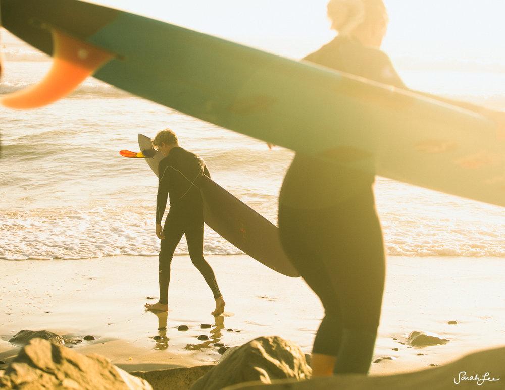 Sunset surf in Encinitas, California with longboarders Morgan Sliff and Christian Stutzman