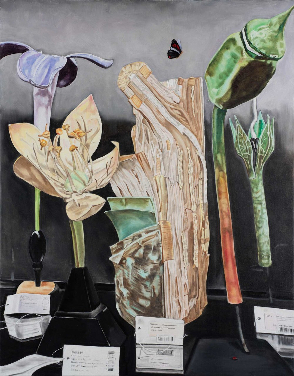 Still life with wood, butterfly and ladybird , 2018 84 x 66cm oil on linen