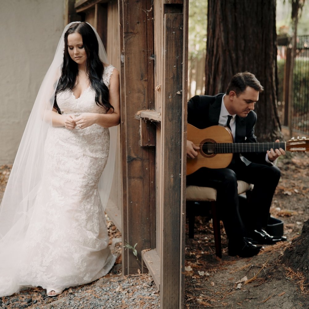 Some Small, Small way - In the shade of the trees at Deer Park Villa, Caitlin & Carl exchanged emotionally super-charged vows before bursting into an Islay Scotch fueled party that the townies in Fairfax, CA must've heard all the way across town.