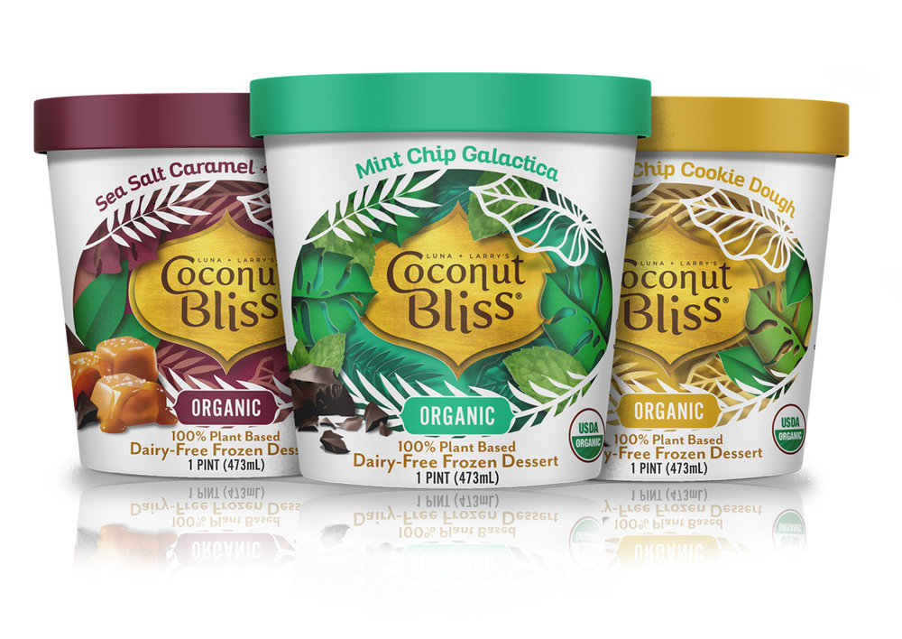 Coconut Bliss - Coconut Bliss's plant-based, dairy-free frozen desserts have been delighting customers for over a decade. They came to us with the goal of modernizing the look on their pints, bars, and cookie sandwiches. We took the graphic DNA of the brand and updated it, highlighting the delicious Organic and Non-GMO ingredients in every product while also calling back to the tropical foundation of the brand's identity.