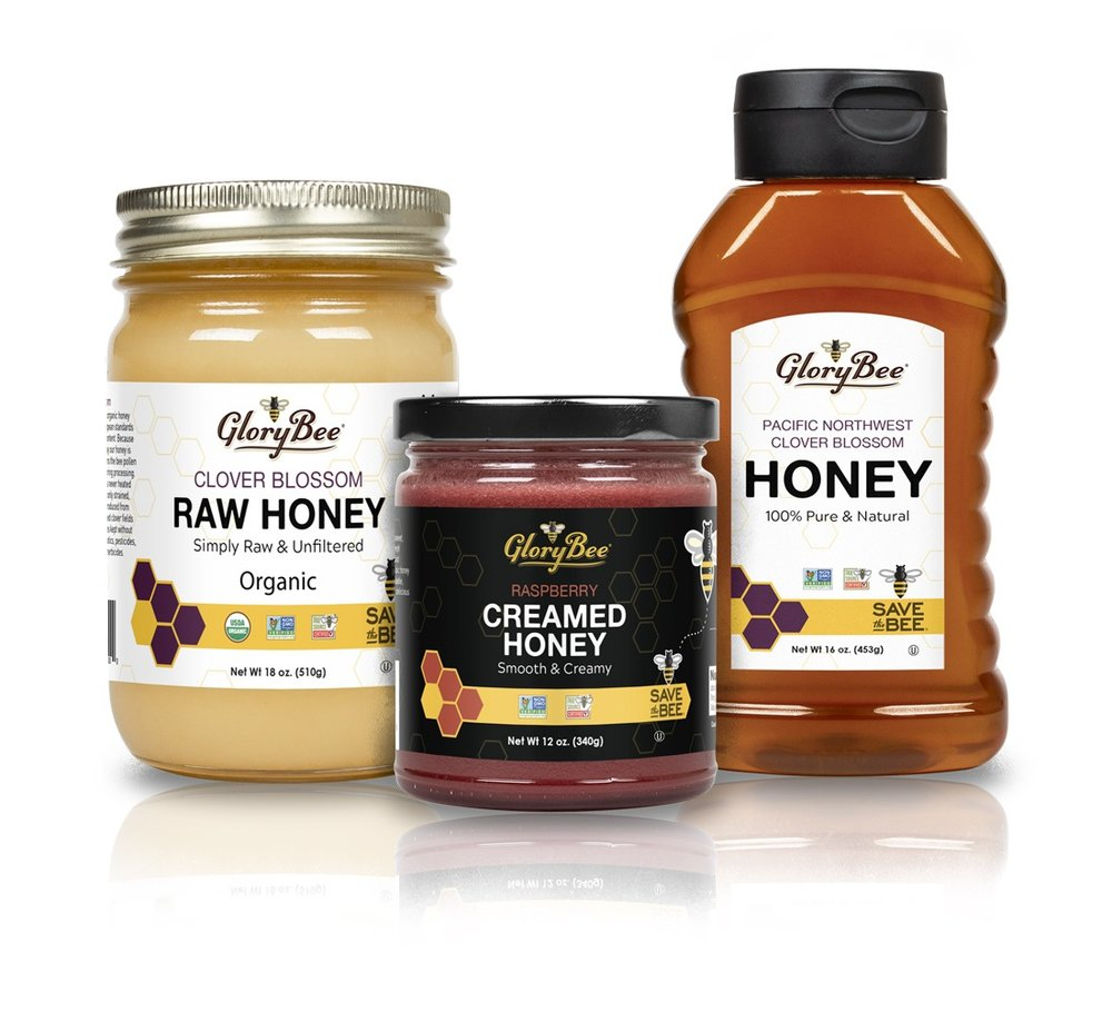 GloryBee - For more than 40 years, GloryBee has been offering honey, sweeteners, and other high-quality ingredients to natural food manufacturers, bakeries, markets, and directly to consumers. With such a broad scope of product offerings, they wanted our help to create a declarative and clean look that presented a unified statement while differentiating between their distinct product lines.