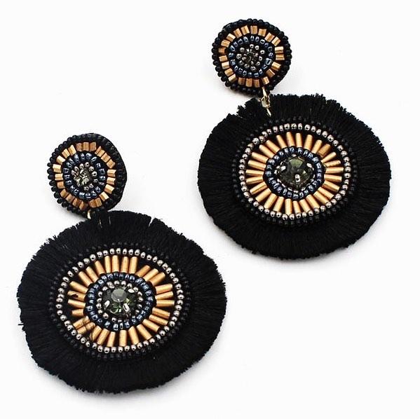 ☆ Black Beaded Tassel Earrings ☆