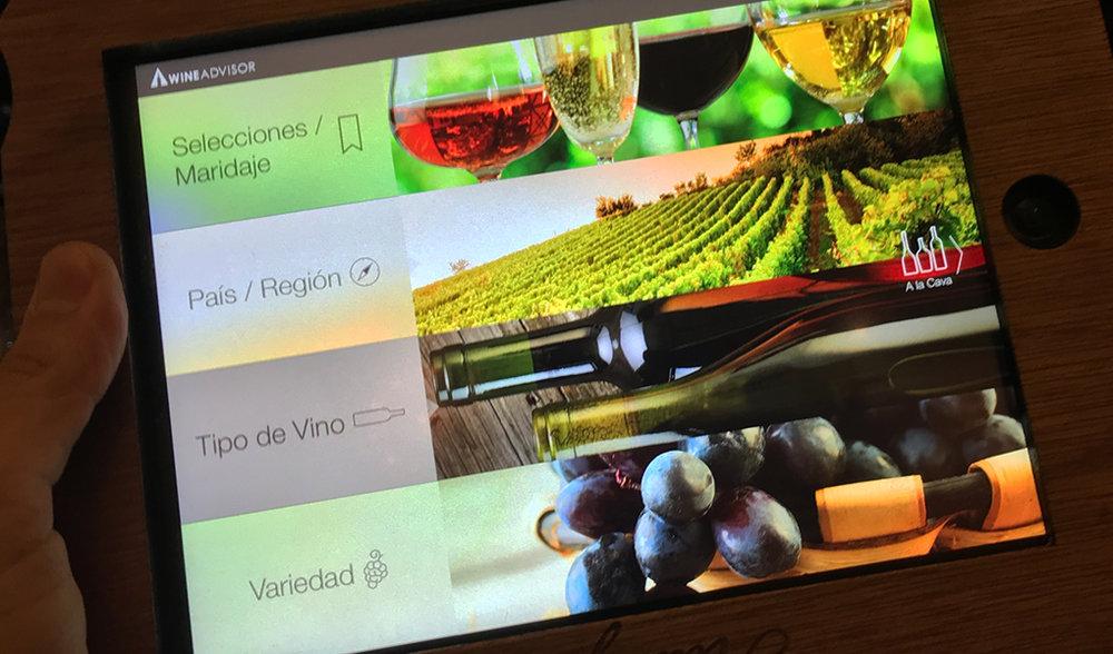 Categorías para escoger en la Cava iPad
