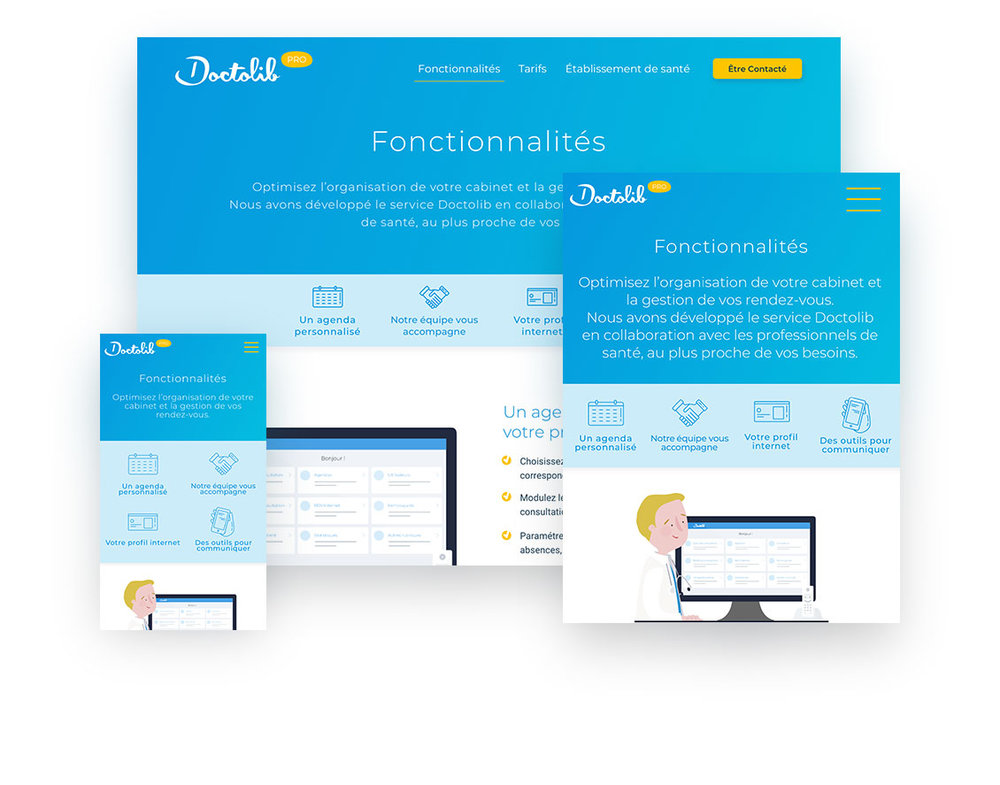 DoctolibUI | Web Design | Illustration2018 - Doctolib wanted help giving their business-to-business website a more corporate feel and differentiating it from their business-to-client site. We used their original branding elements and their illustrations so the rupture wouldn't be too great but we tweaked them and used them in different manners to bring this new feel. In addition to the web design, I created a complete set of custom icons.