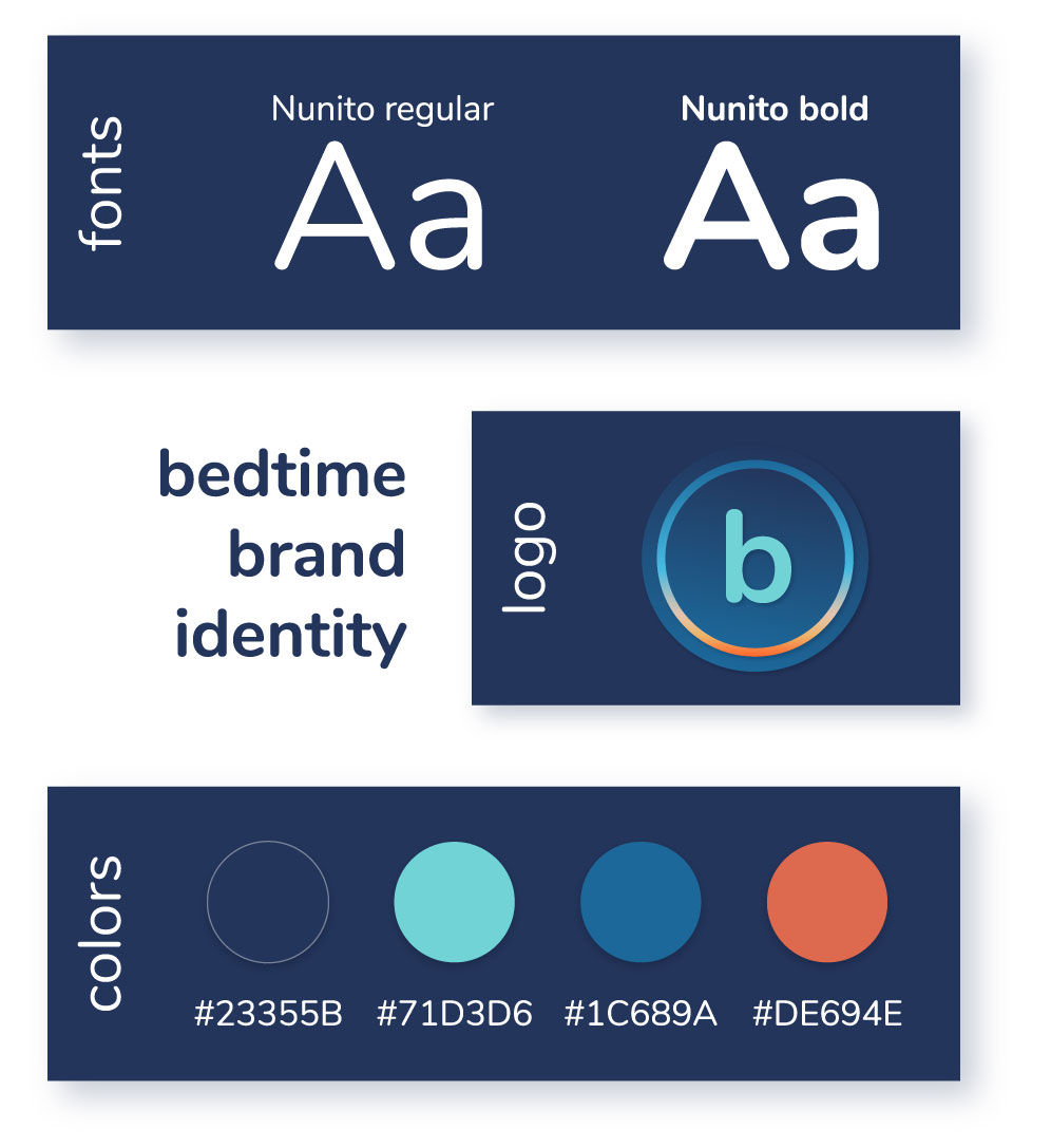 BedtimeBranding | UI2017 - The idea for this app came from the frustration caused by the complexity of the sleep tracking apps out there. They track your movement, record when you snore and make you feel guilty when you go to bed late one night. So simplicity was the keyword while creating the experience for bedtime. No need for unnecessary features, the goal for the user is to better understand their sleep pattern without judgement. To do so, they can set custom alarms, see how many hours they sleep, rate their night and look at their personal charts.
