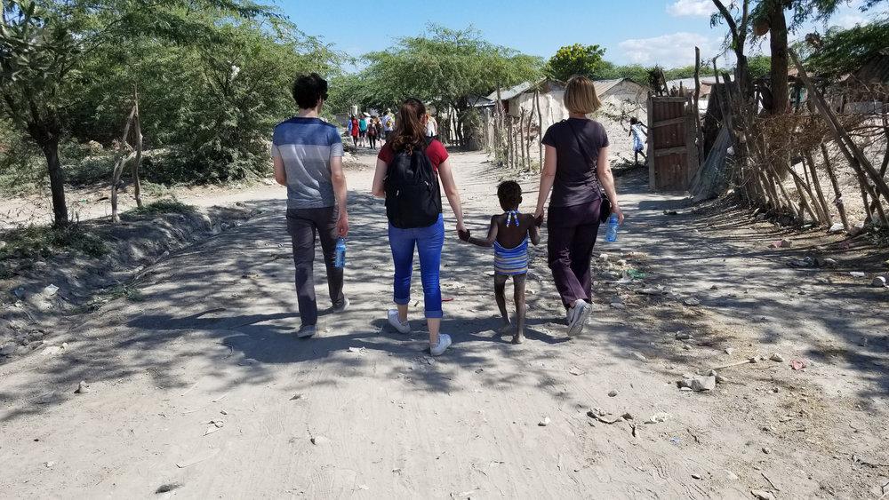 Walking through Chambrun, Haiti.