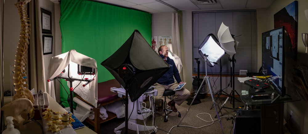 The green screen studio at Spine West in Boulder, CO.