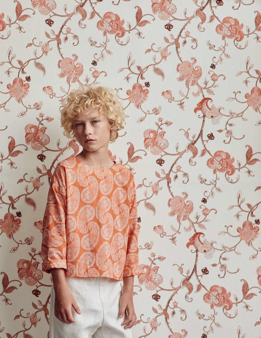 Wallpaper - Embroidered Garden in coriander :: Fabric - Worn Paisley reverse in coral, custom printed on cotton poplin for this shoot.
