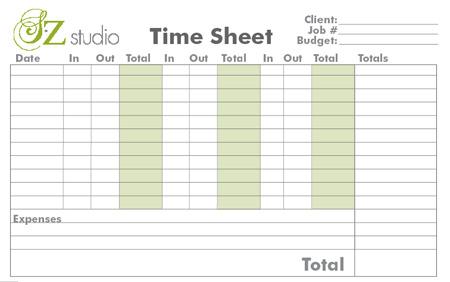 SZ Studio Time Sheet