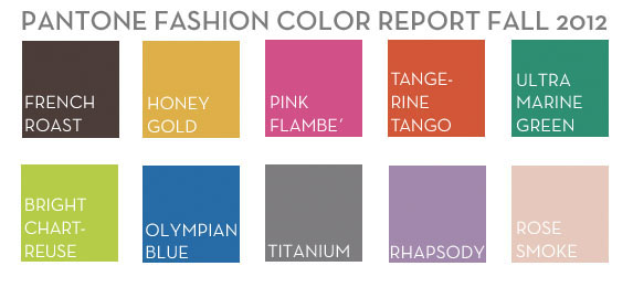 Pantone Fall Fashion Color Trends for Fall 2012