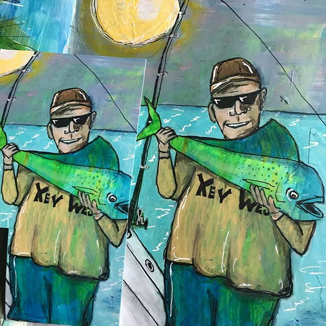Creating prints…we got a match! Testing the proof next to the original.  Check out artist Lee Ann Sanders, fun whimsical Key West & Ocean themed paintings. @bluelagoonartandjewelry  #Aplis_FineArtPrinting #Siouxfallsartists #Fisherman #Fineartprinting #Giclees #Siouxfallsprinting #Keywest #Ocean  #keywestart #saltlife