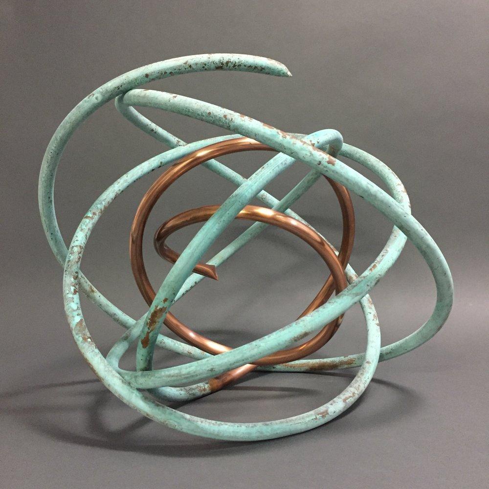 Copper in Verdigris Orb X